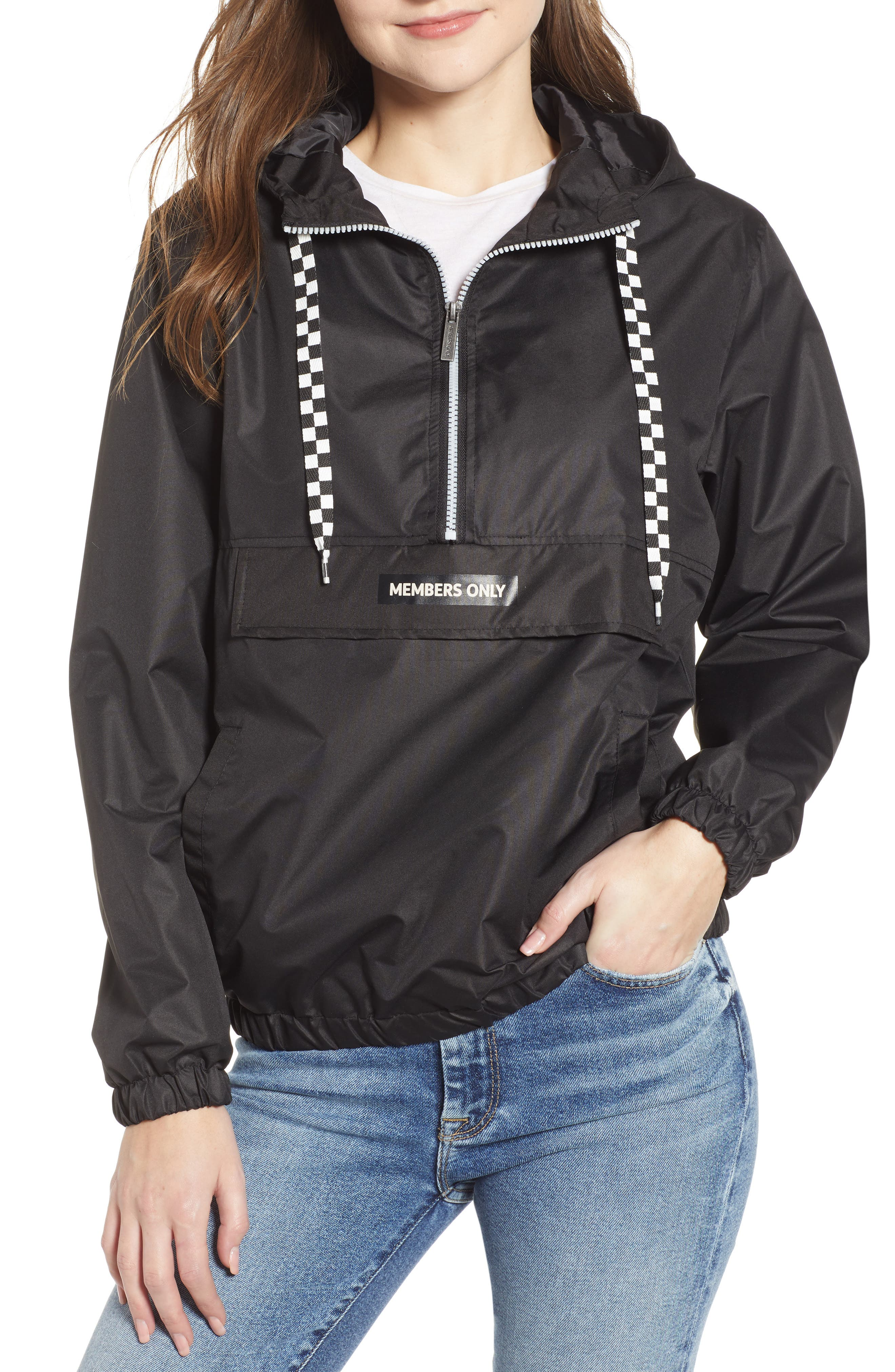 MEMBERS ONLY,                             Hooded Anorak,                             Main thumbnail 1, color,                             BLACK