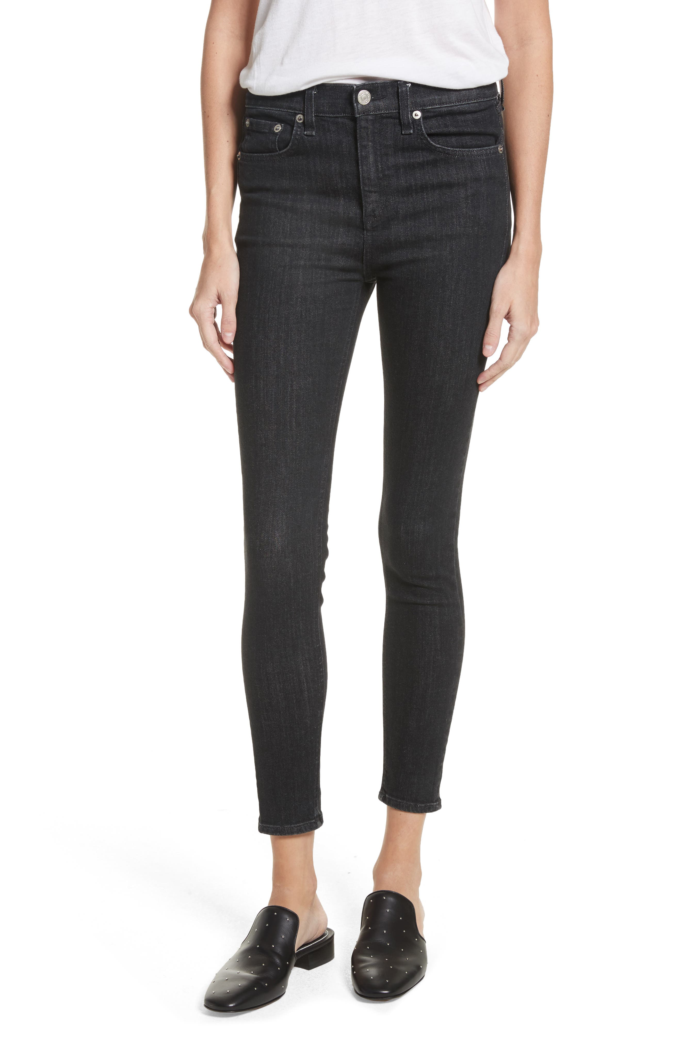 High Waist Ankle Skinny Jeans,                         Main,                         color, 002
