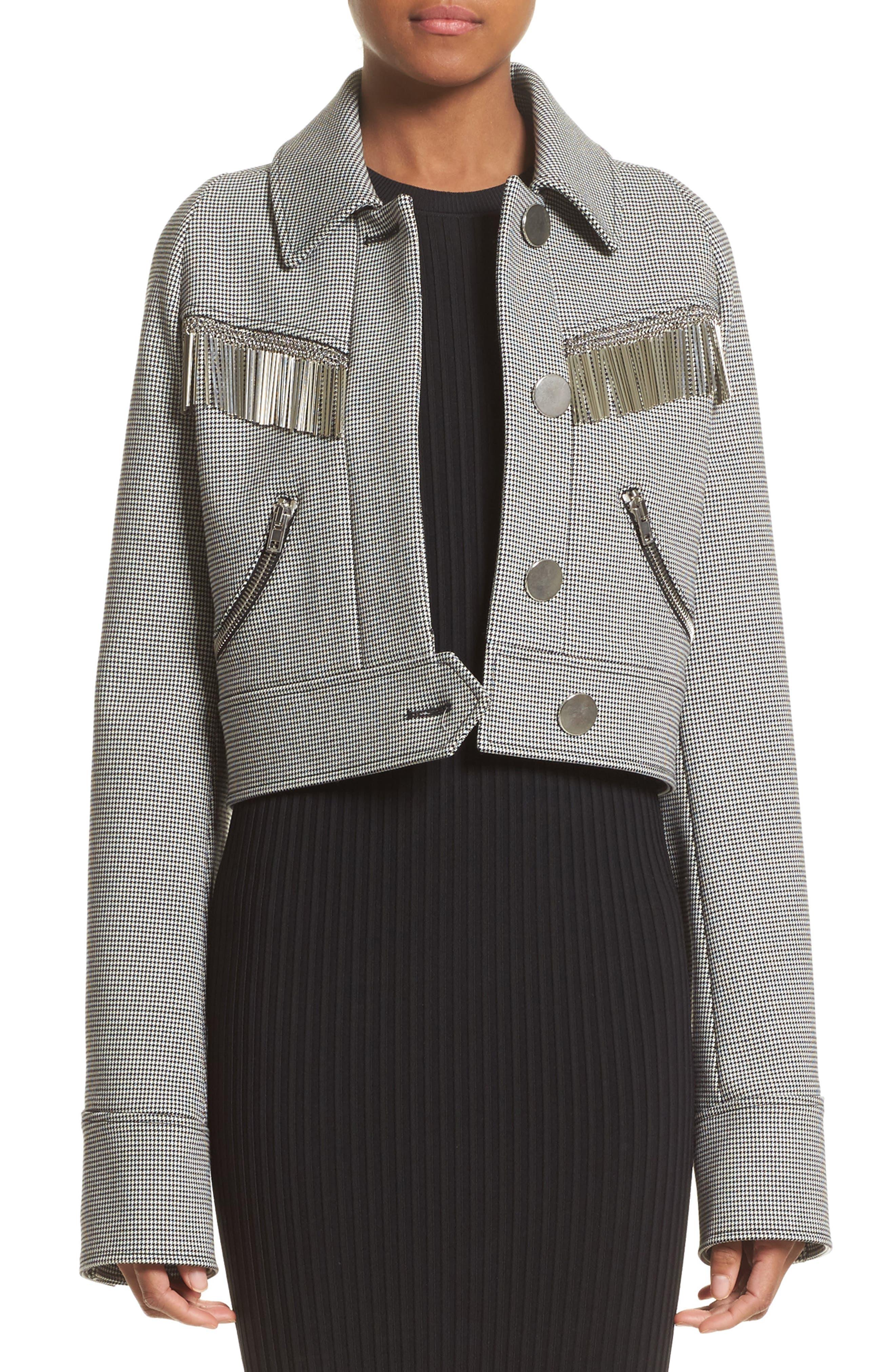 Fringe Crop Jacket,                             Main thumbnail 1, color,                             001