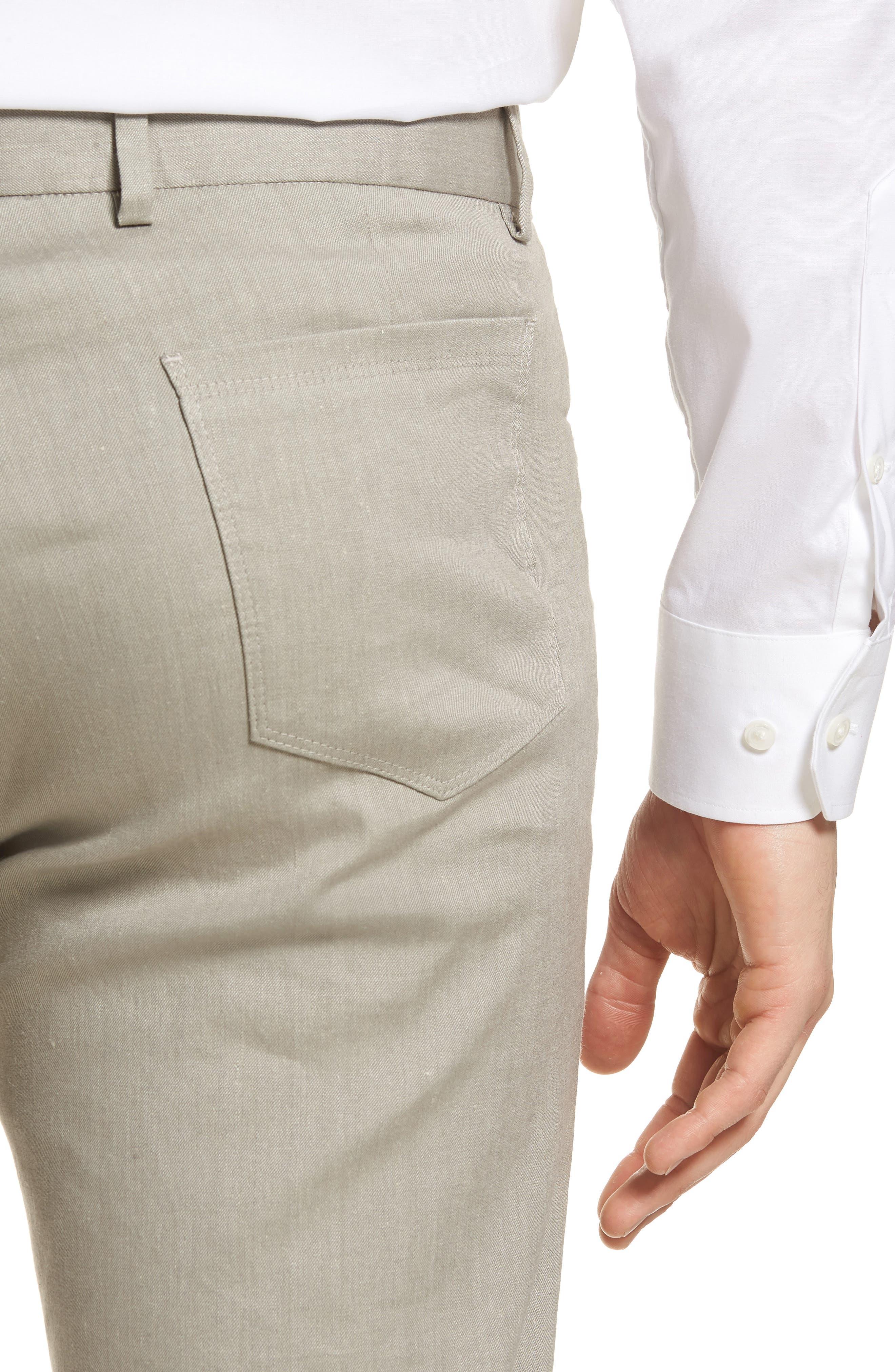 Flat Front Stretch Linen & Cotton Trousers,                             Alternate thumbnail 4, color,                             050