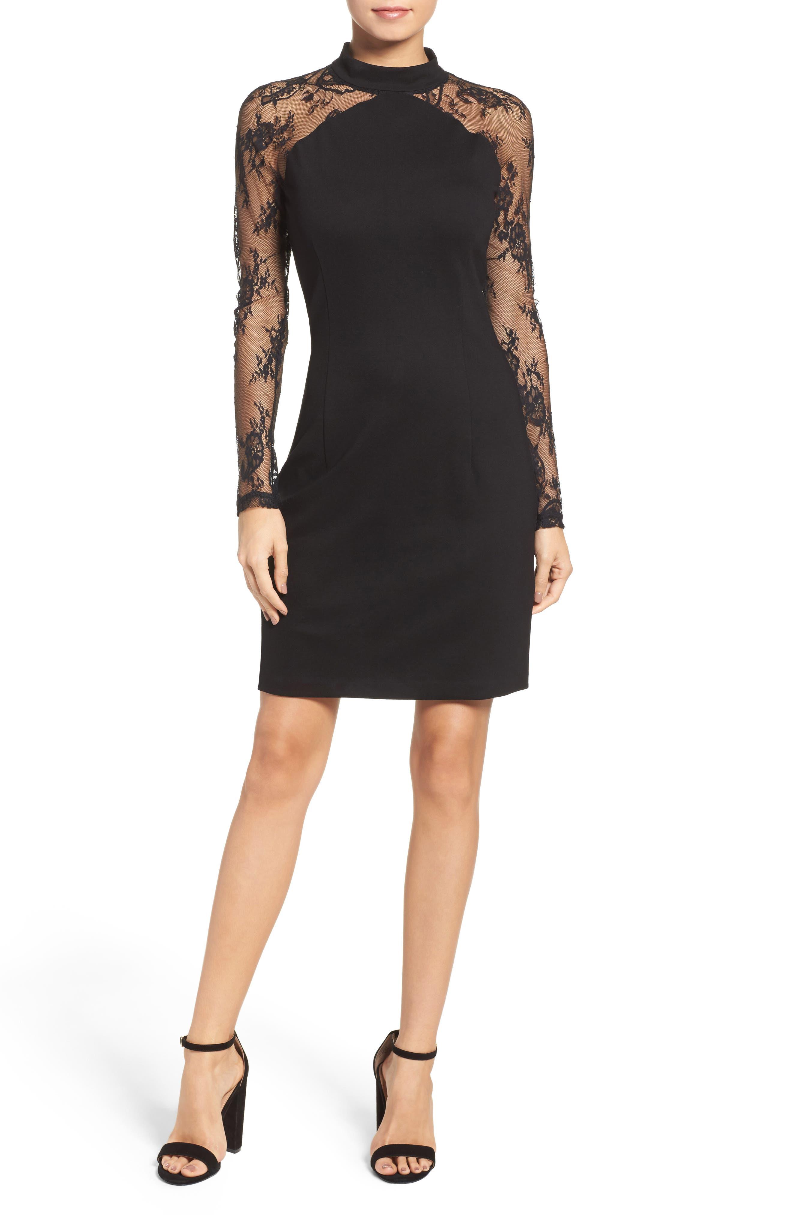 Lace & Ponte Dress,                             Alternate thumbnail 6, color,                             001
