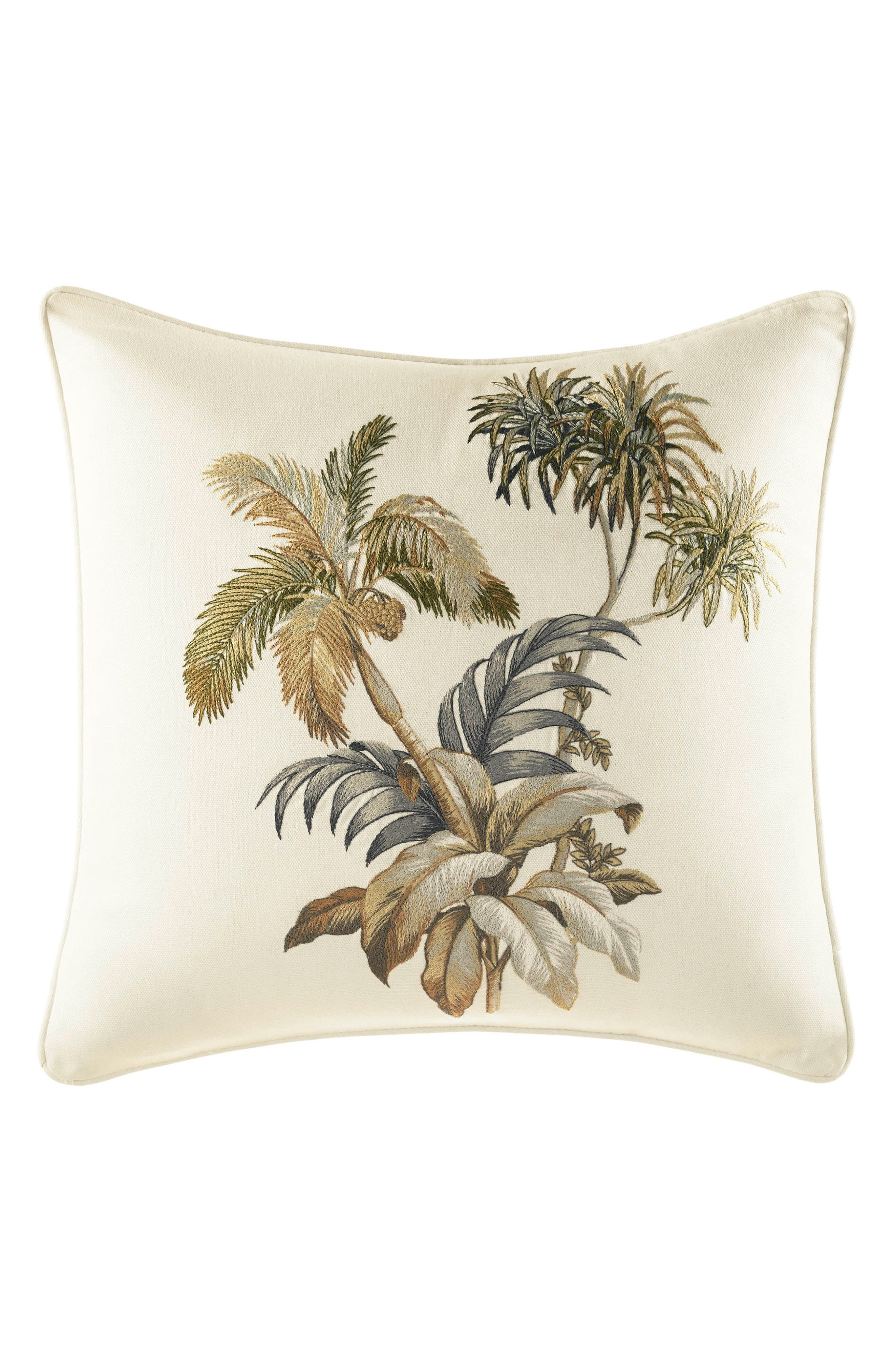 Nador Palm Embroidered Accent Pillow,                             Main thumbnail 1, color,                             NEUTRAL