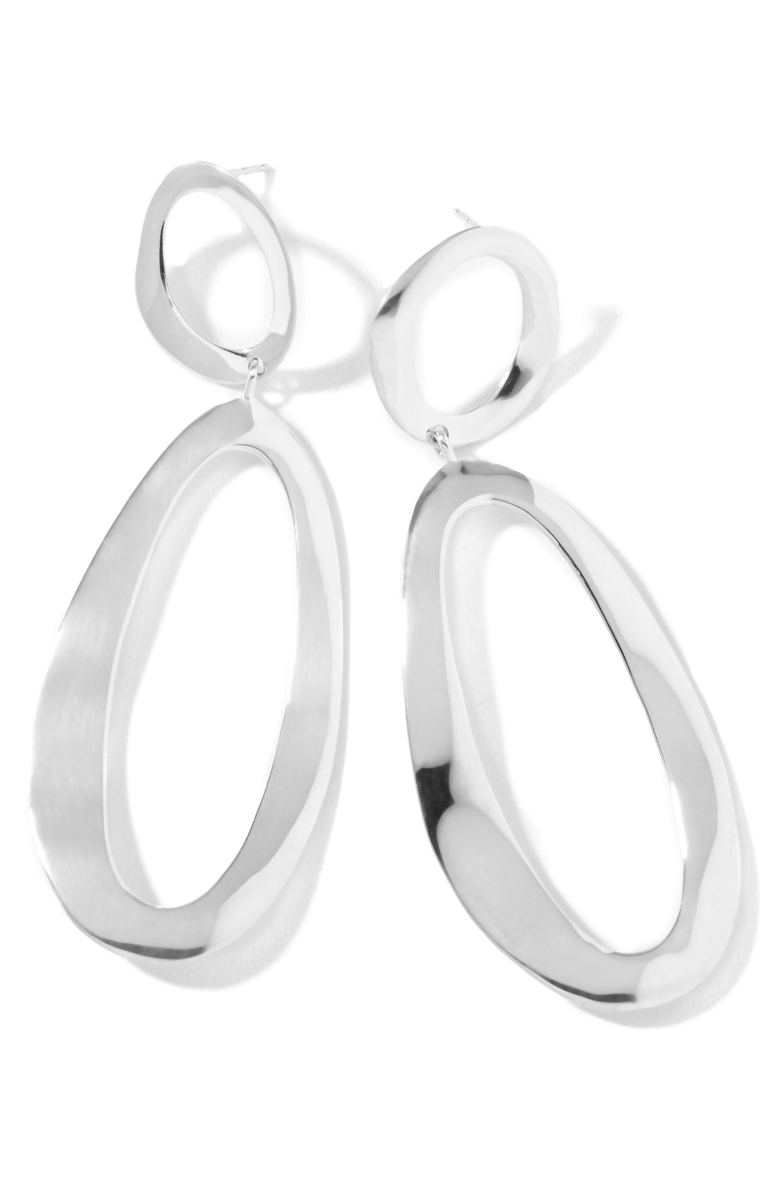 'Oval Snowman' Large Wavy Earrings,                             Alternate thumbnail 3, color,                             040