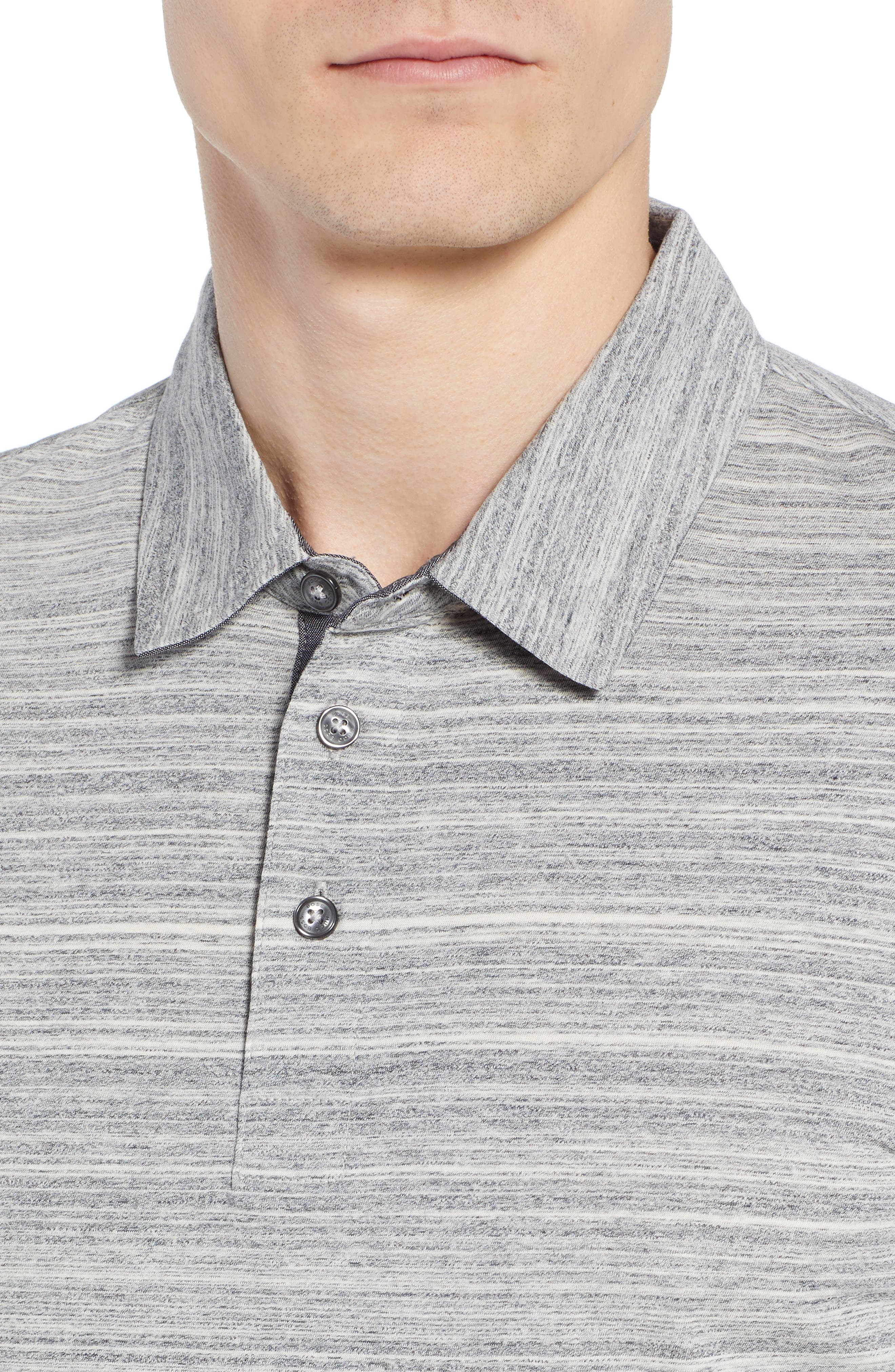 Place Slim Fit Space Dyed Polo,                             Alternate thumbnail 4, color,                             LIGHT GREY