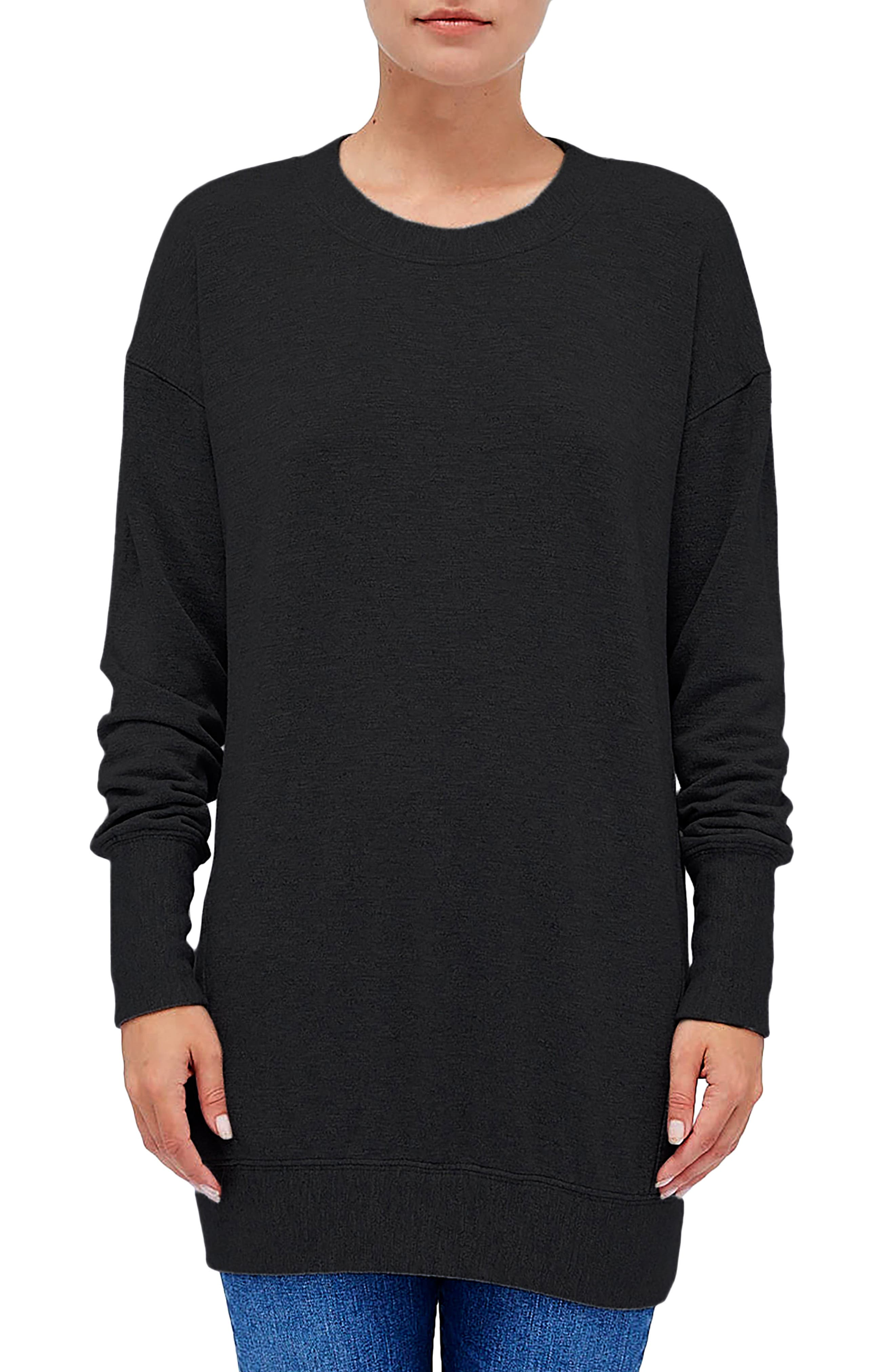 Fleece Tunic Top, Main, color, BLACK