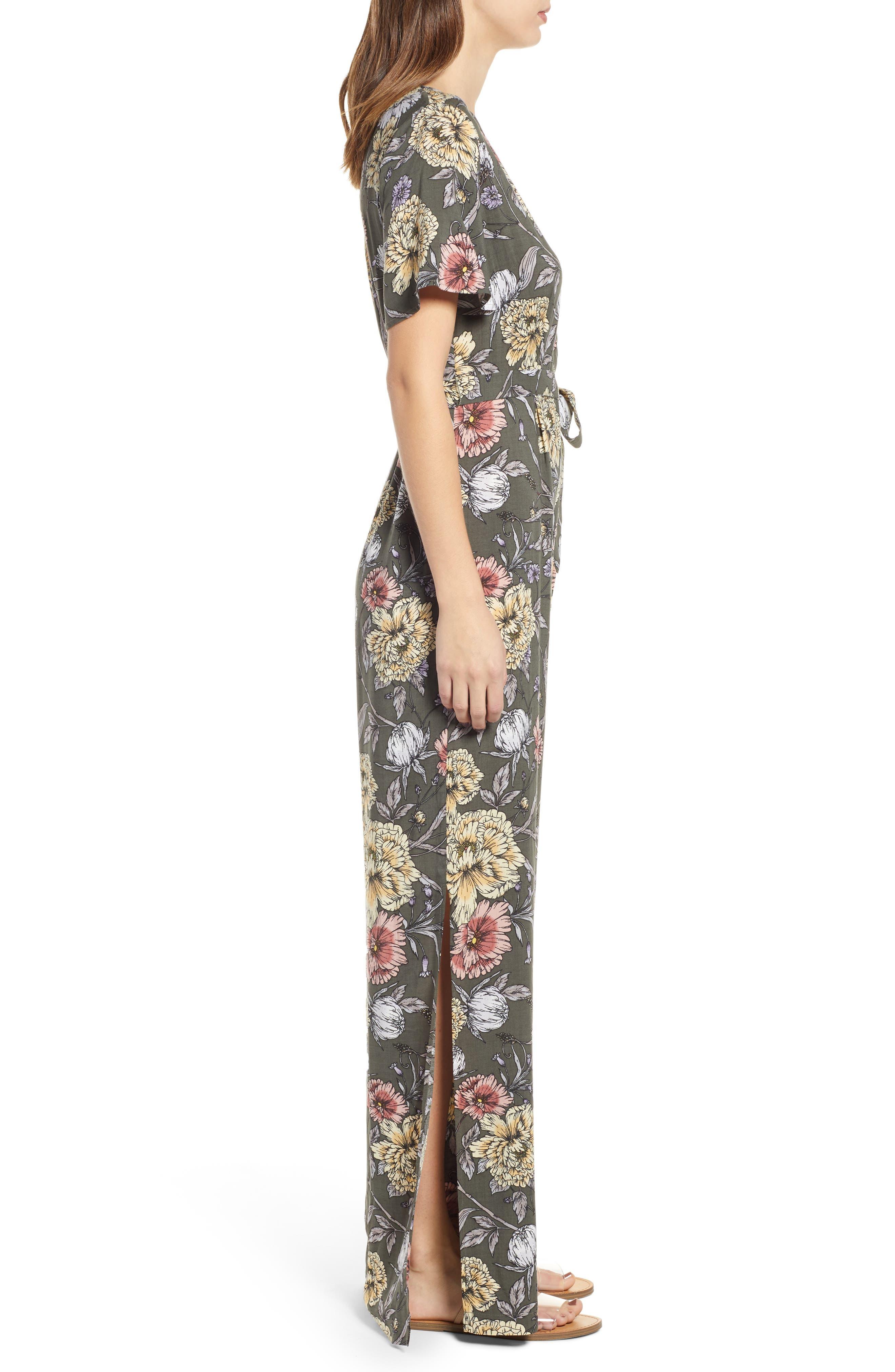 Floral Print Tie Waist Jumpsuit,                             Alternate thumbnail 3, color,                             OLIVE FLORAL