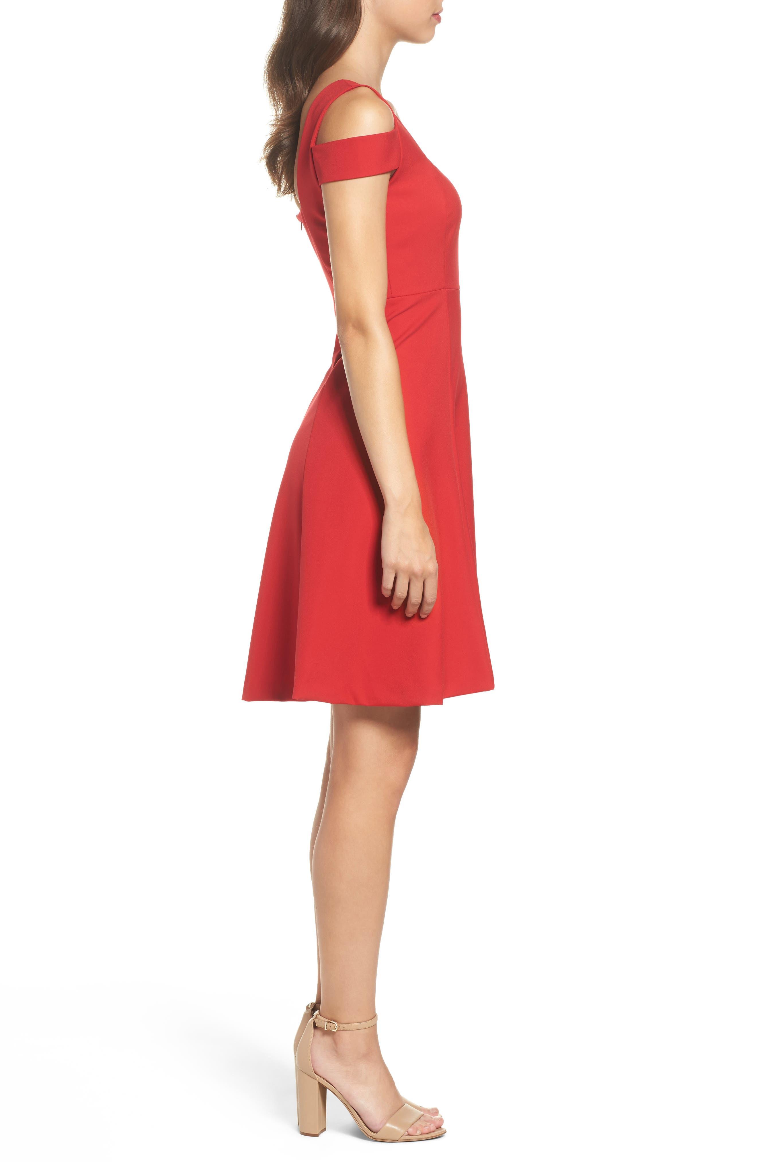Pearl Cold Shoulder Fit & Flare Dress,                             Alternate thumbnail 3, color,                             600