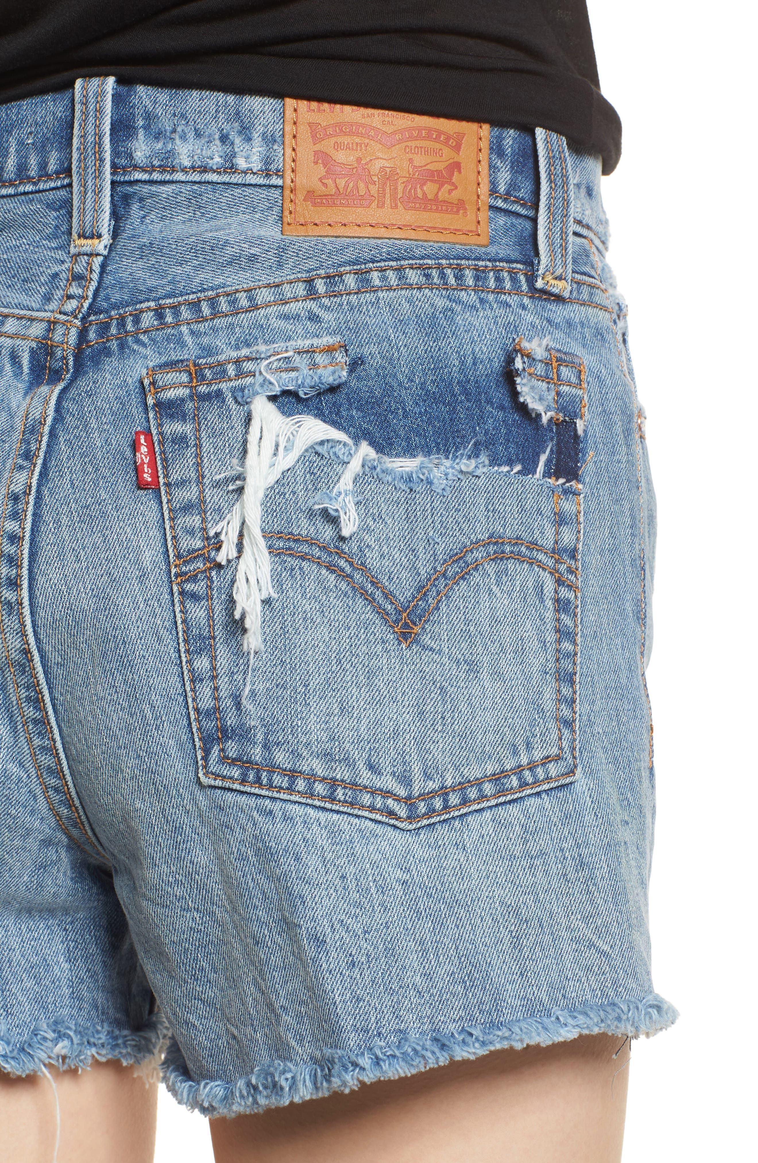 Wedgie High Waist Cutoff Denim Shorts,                             Alternate thumbnail 4, color,                             401