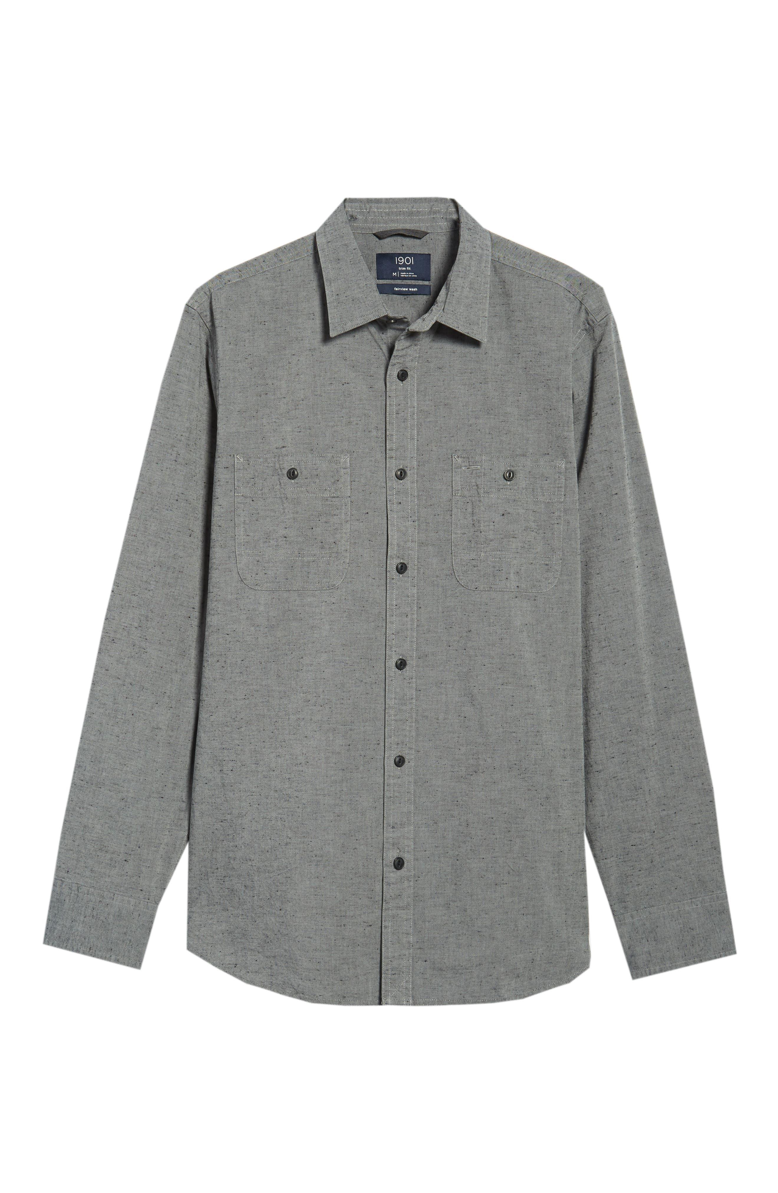 Workwear Chambray Sport Shirt,                             Alternate thumbnail 6, color,                             GREY ONYX NEP CHAMBRAY