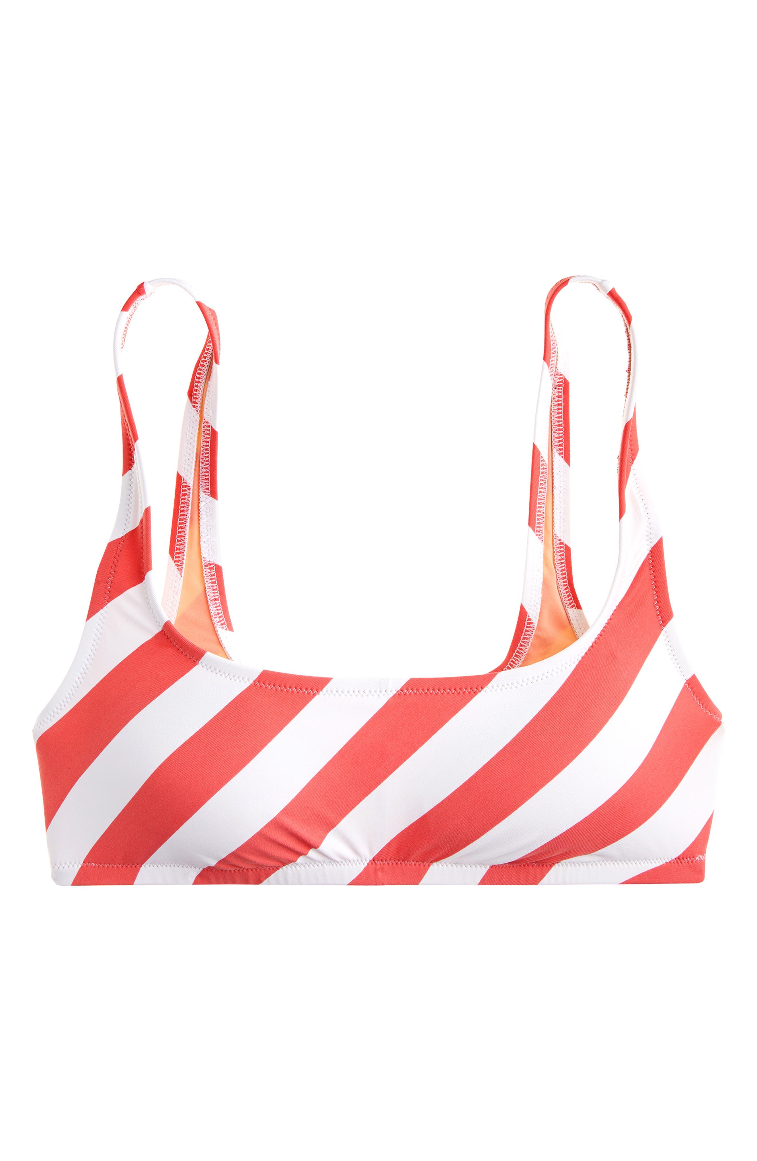J.CREW,                             Stripe Scoop Neck Bikini Top,                             Main thumbnail 1, color,                             CERISE IVORY