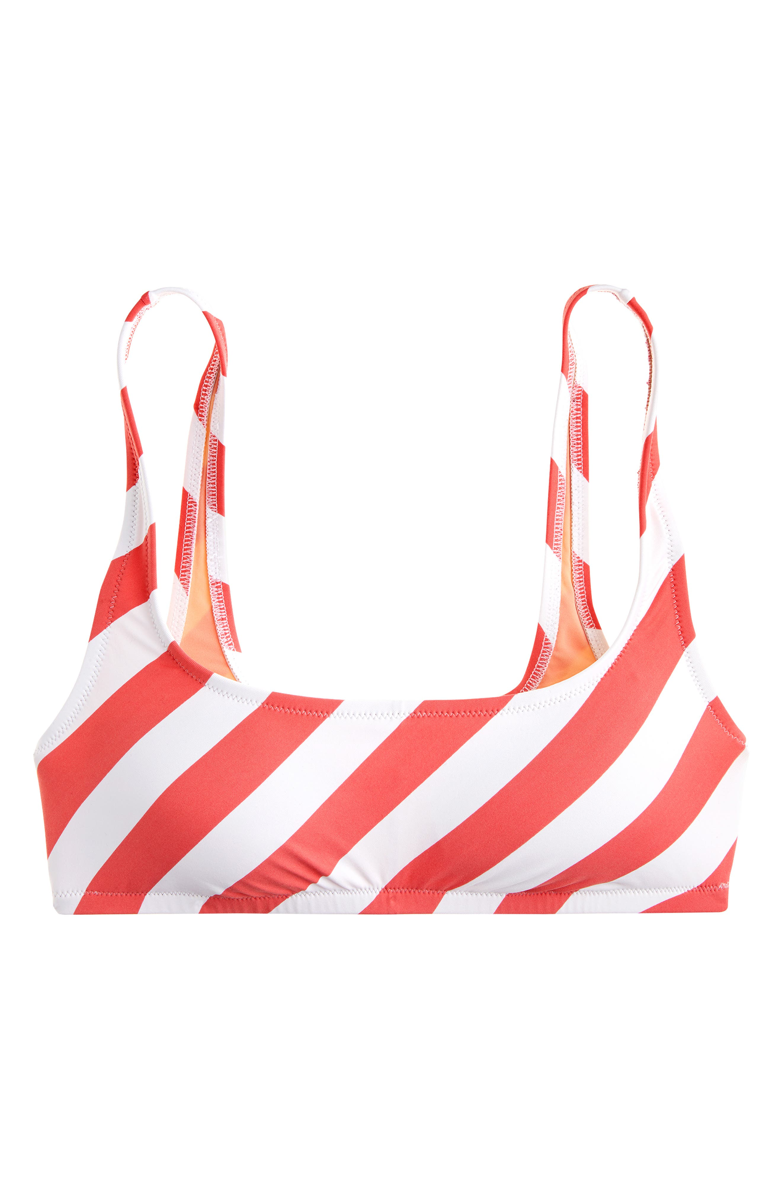 J.CREW Stripe Scoop Neck Bikini Top, Main, color, CERISE IVORY