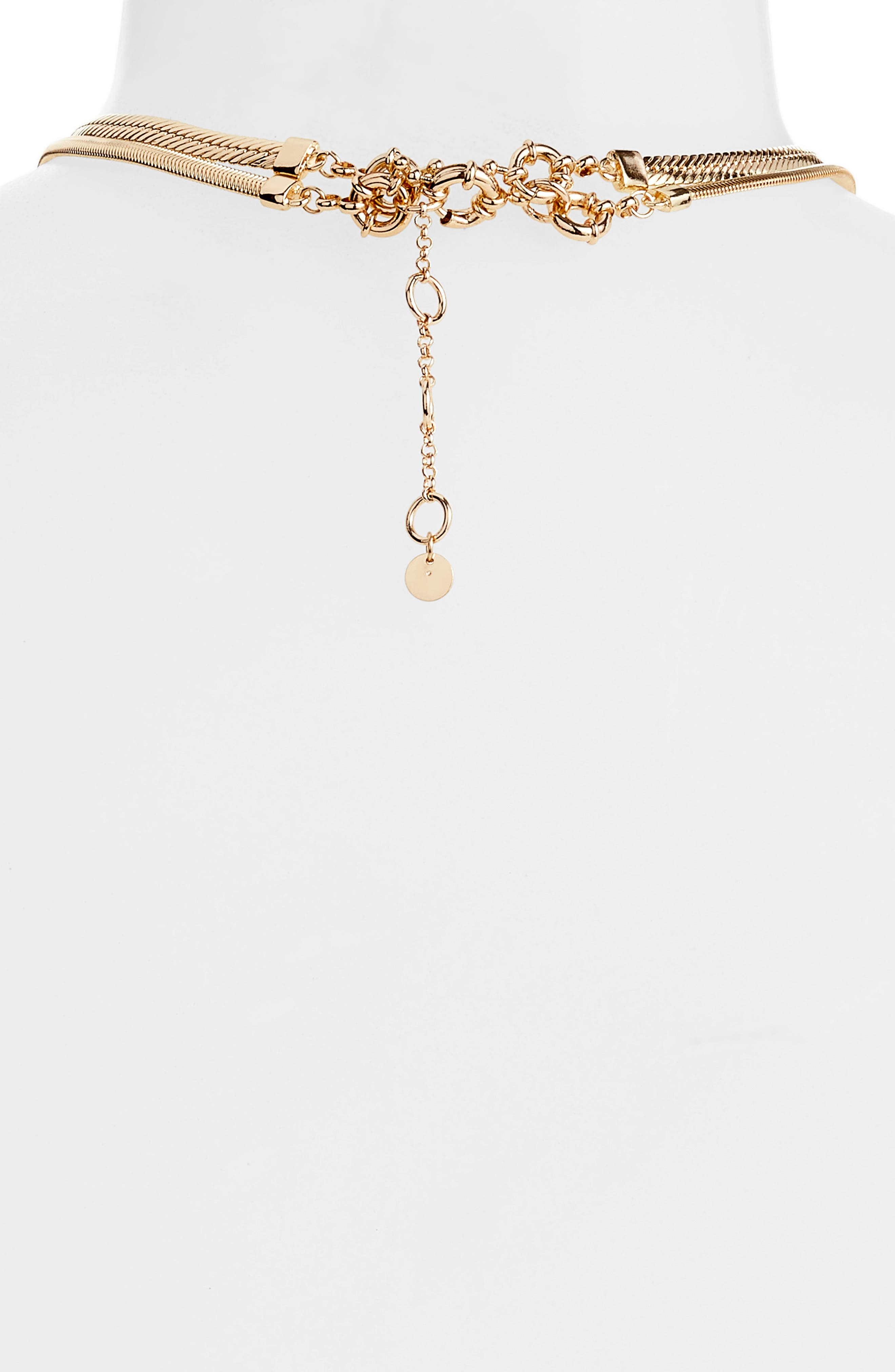 2-in-1 Snake Chain Lariat Necklace,                             Alternate thumbnail 4, color,                             GOLD