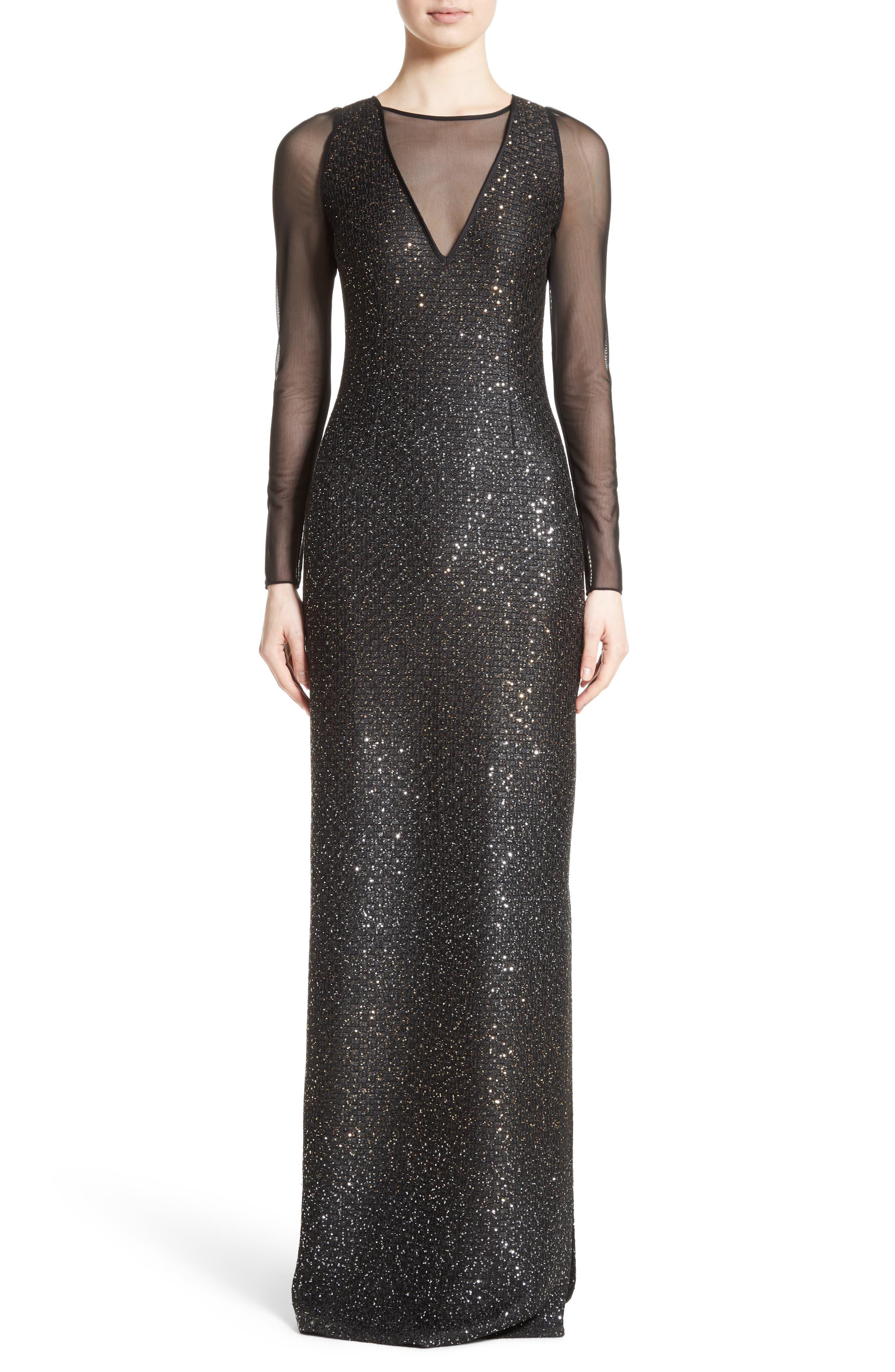 Sequin Illusion Yoke Gown,                         Main,                         color, 001