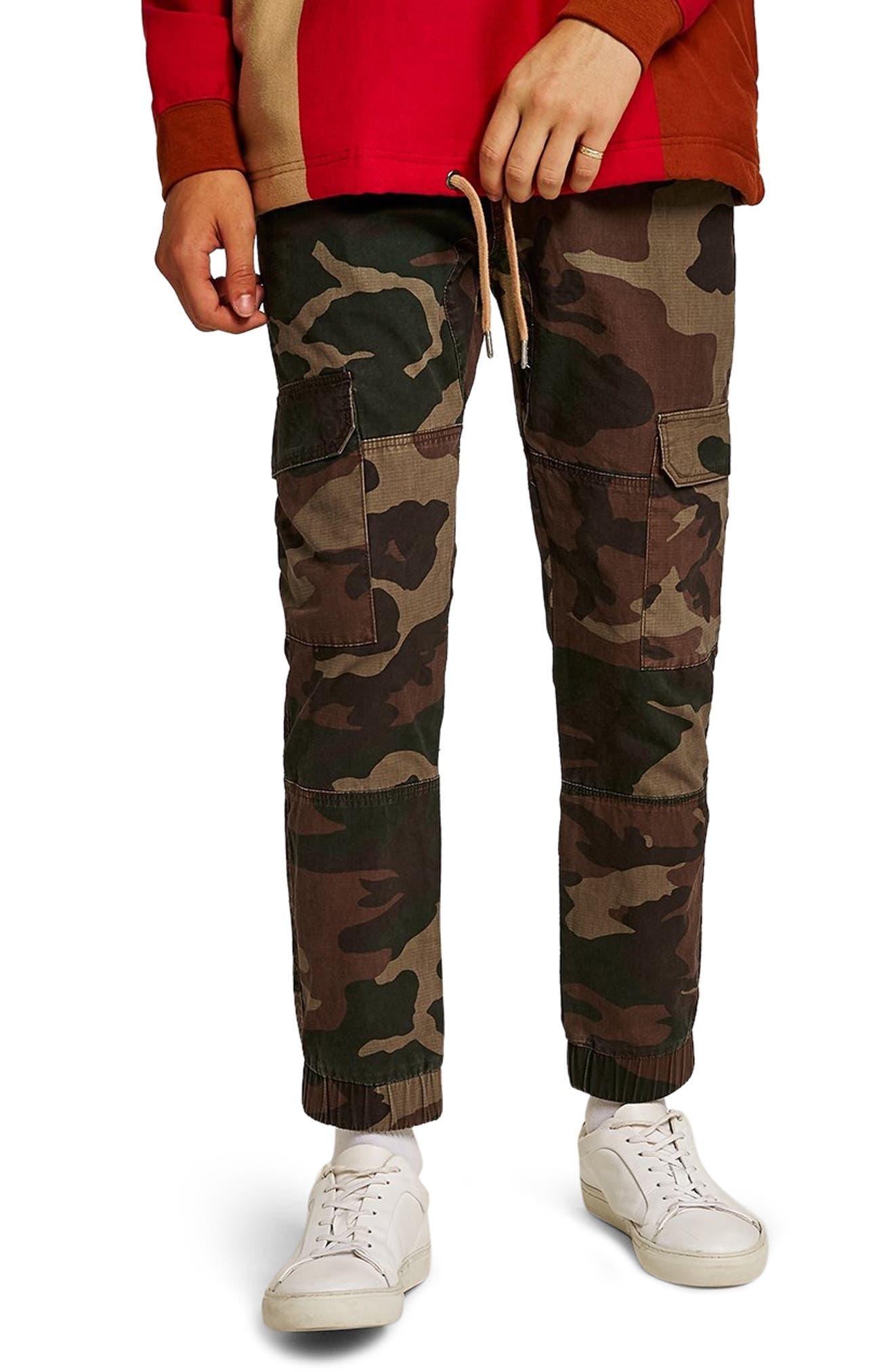 Skinny Fit Camo Cargo Pants,                             Main thumbnail 1, color,                             GREEN MULTI