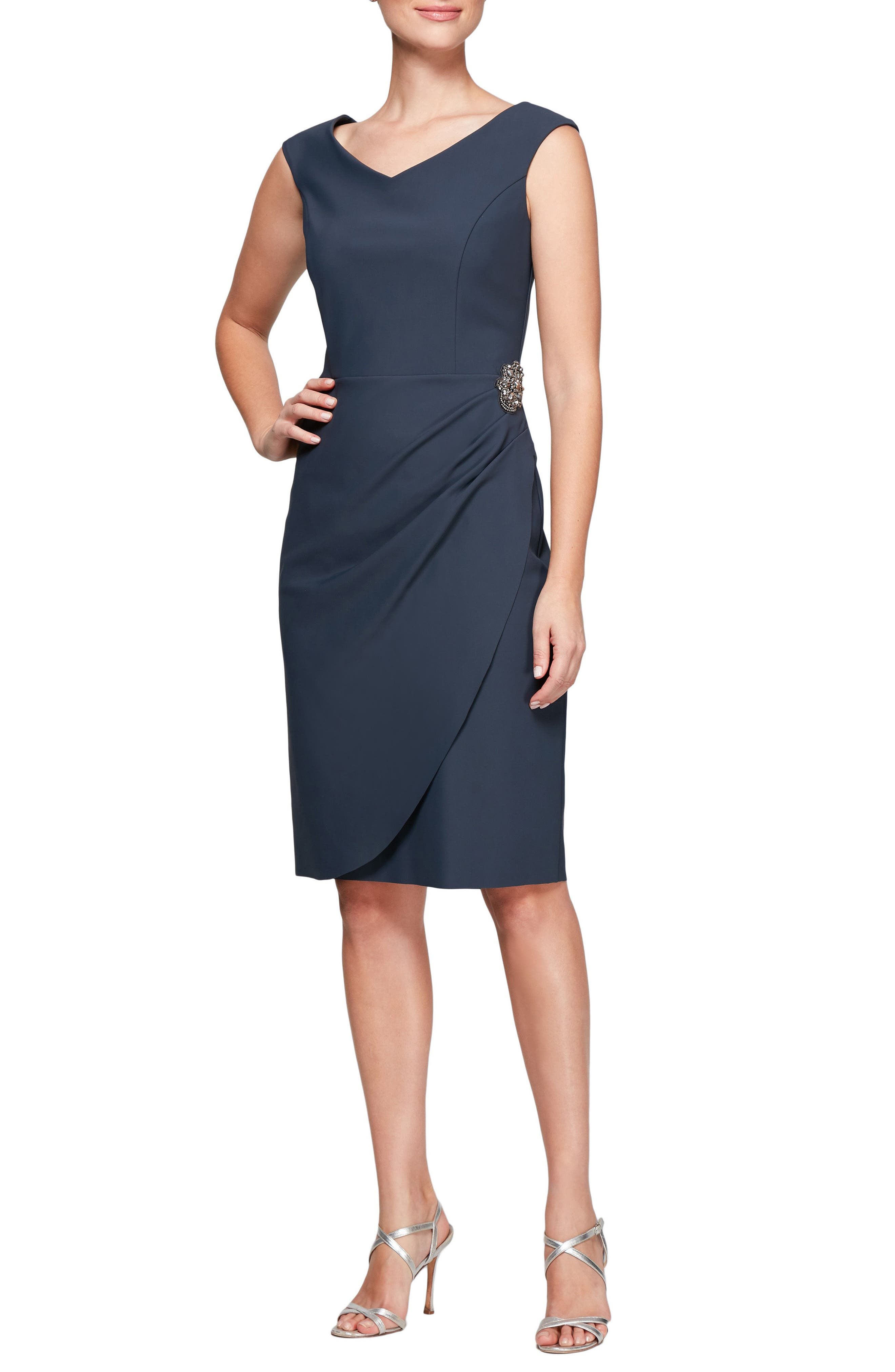 V-Neck Sheath Dress,                             Main thumbnail 1, color,                             021