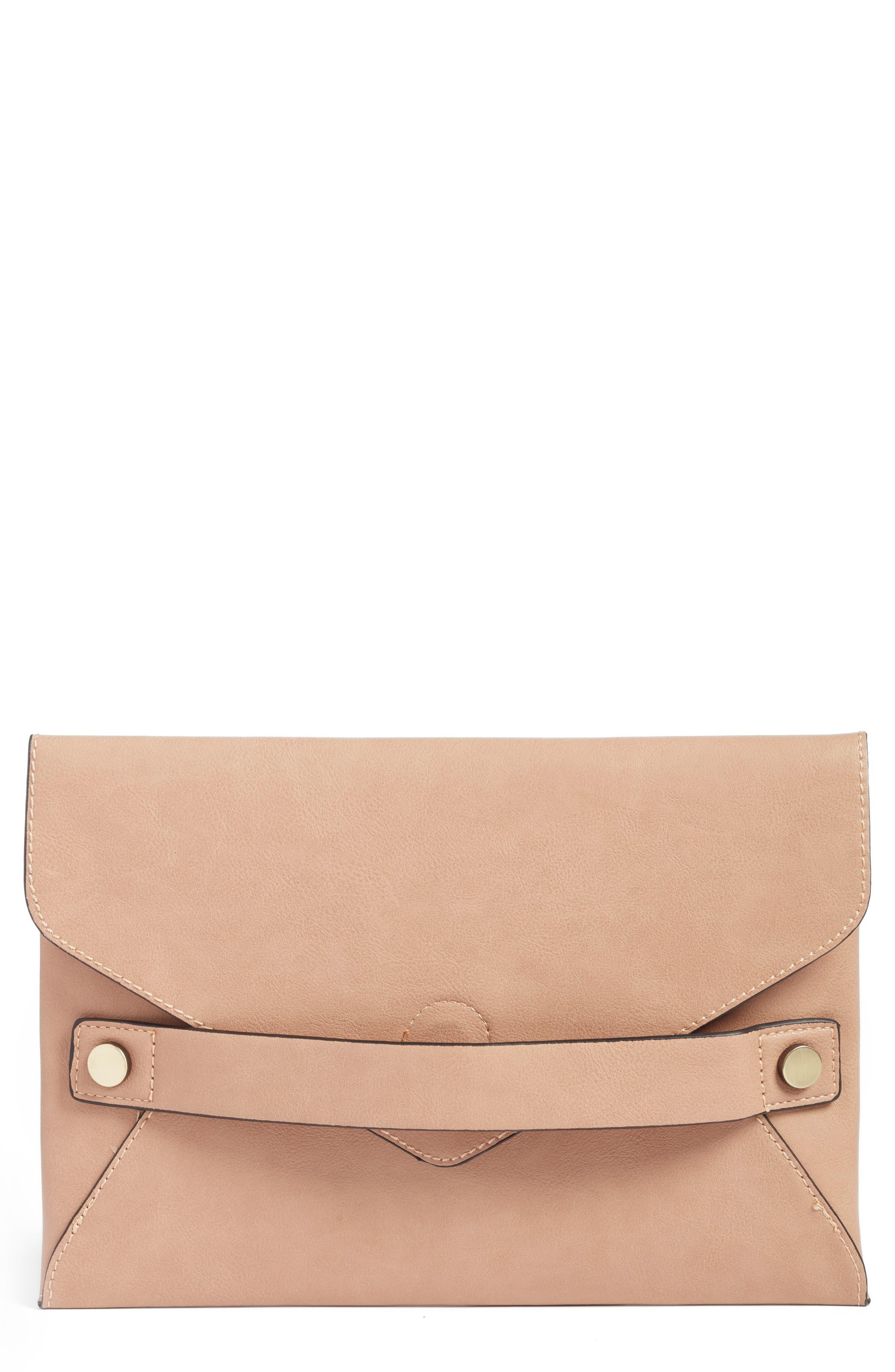 Karen Faux Leather Envelope Clutch,                             Main thumbnail 2, color,