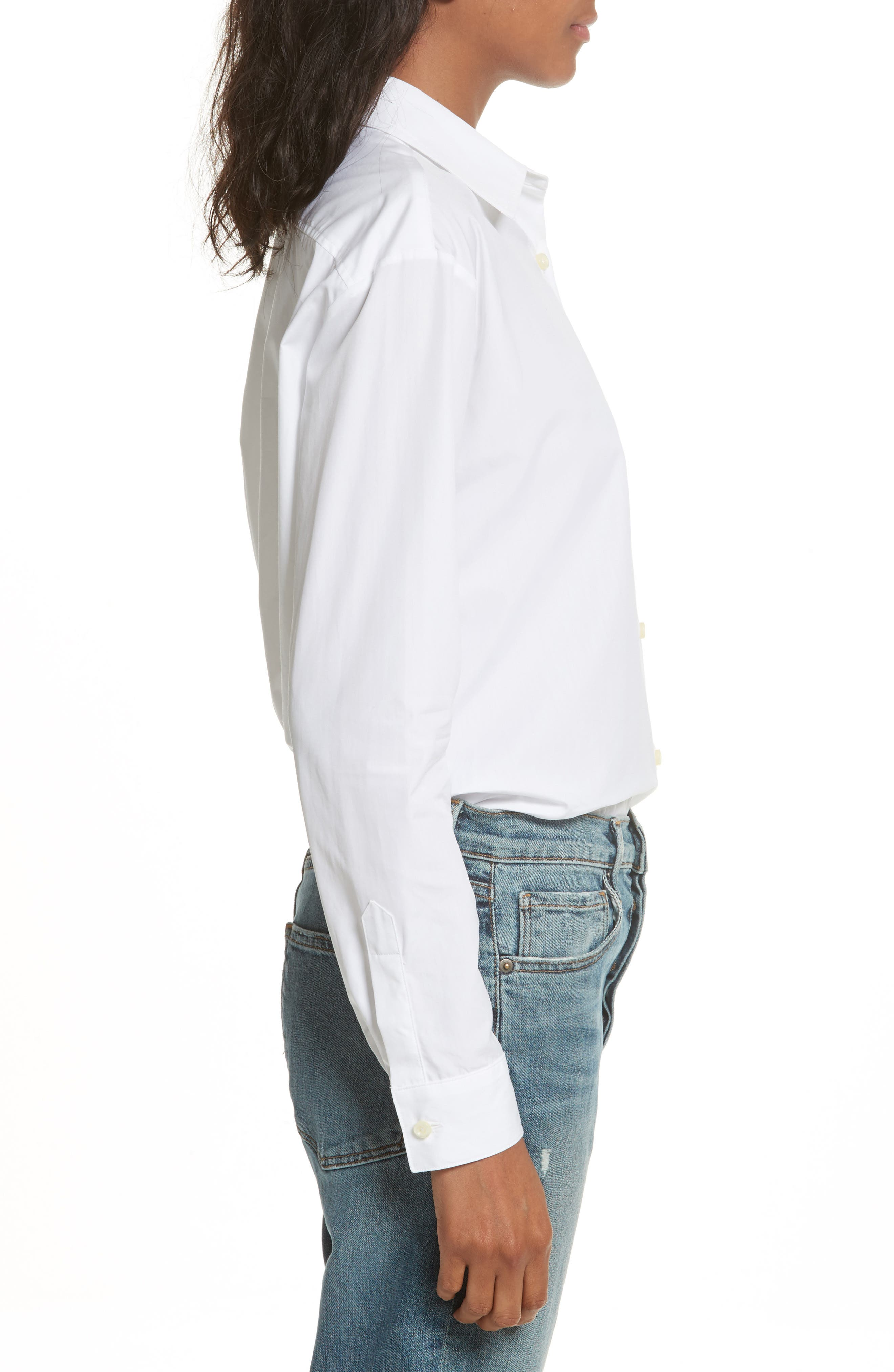 The Hutton Cotton Poplin Shirt,                             Alternate thumbnail 3, color,                             WHITE