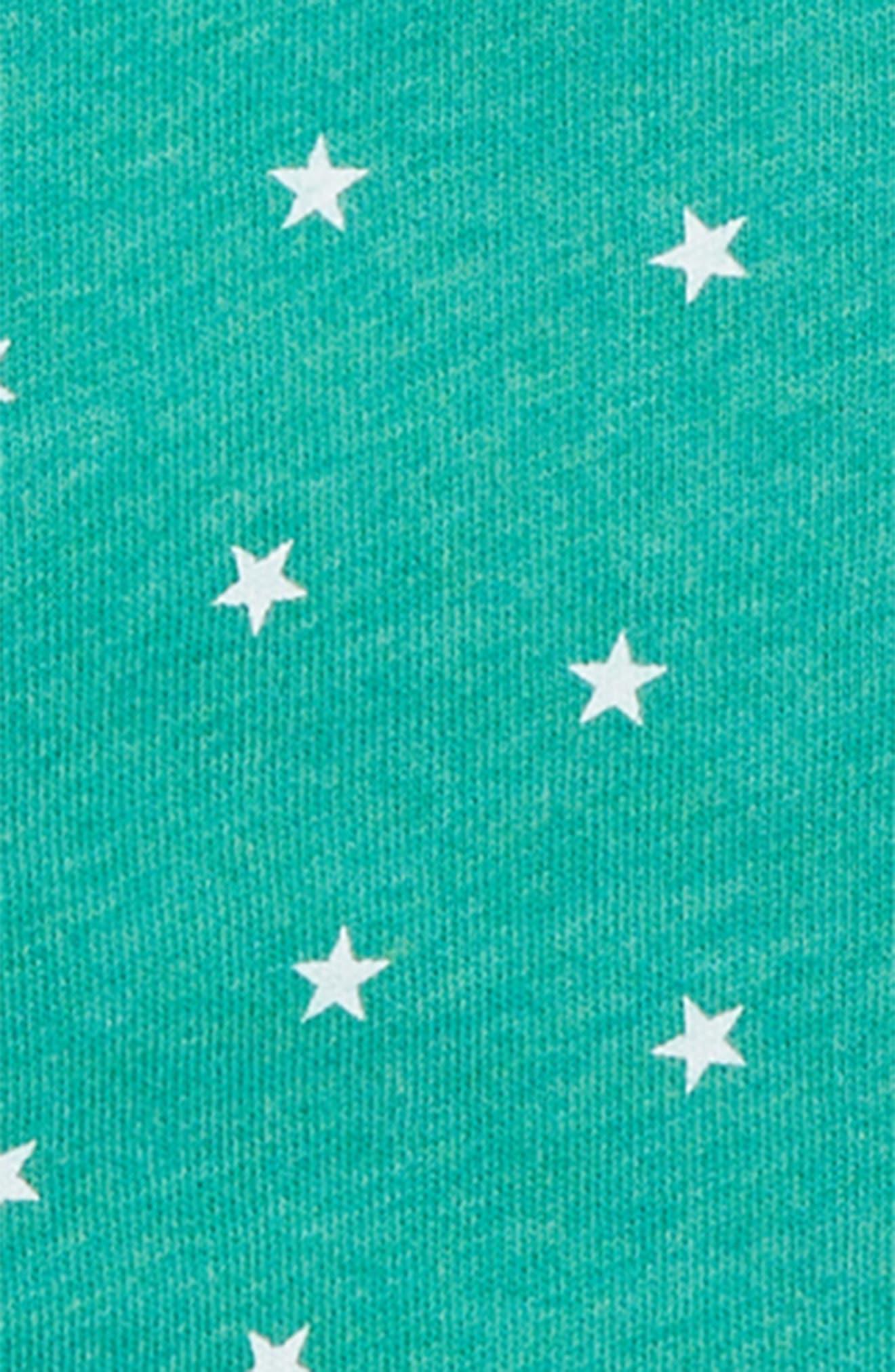 Fleece Lined Zip Hoodie,                             Alternate thumbnail 2, color,                             JUNGLE GREEN MARLE/ ECRU STARS