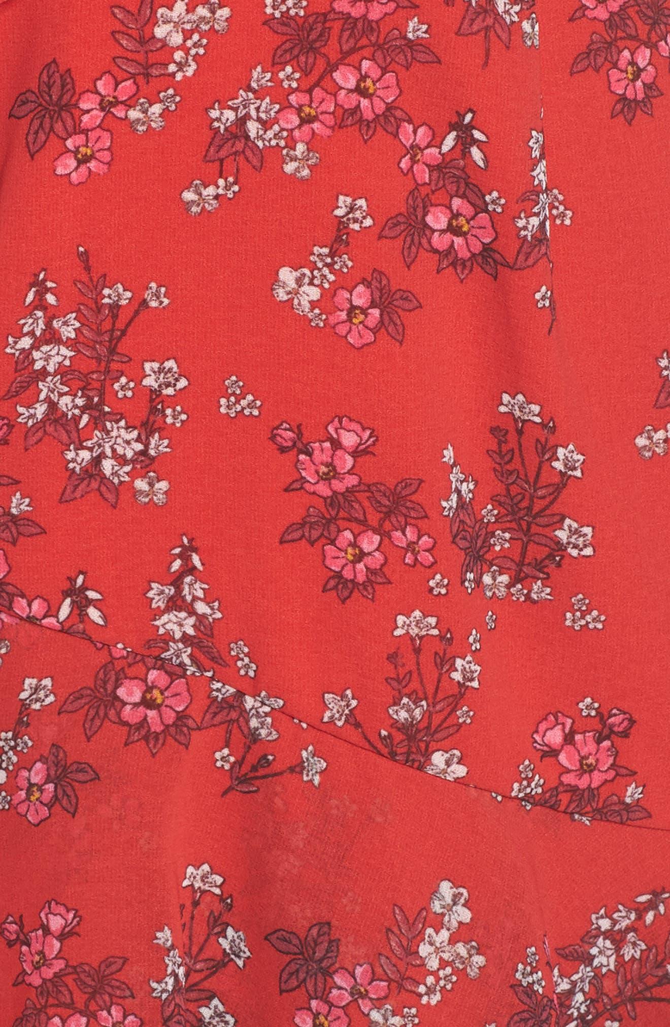 KEEPSAKE THE LABEL,                             Heart & Soul Ruffle Detail Tea Length Dress,                             Alternate thumbnail 6, color,                             SMALL RED FLORAL