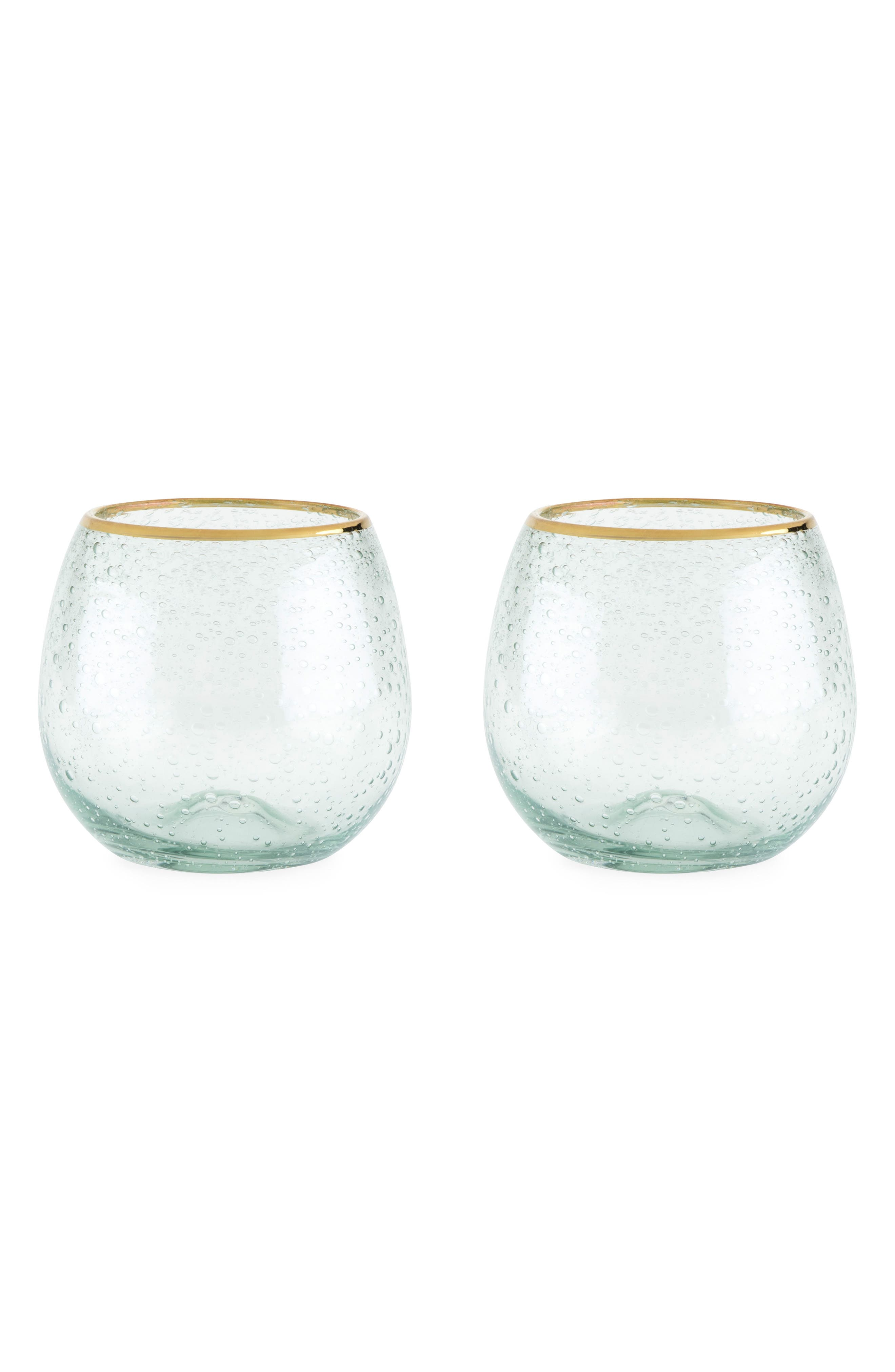 Set of 2 Gold Rim Stemless Wine Glasses,                             Main thumbnail 1, color,                             100