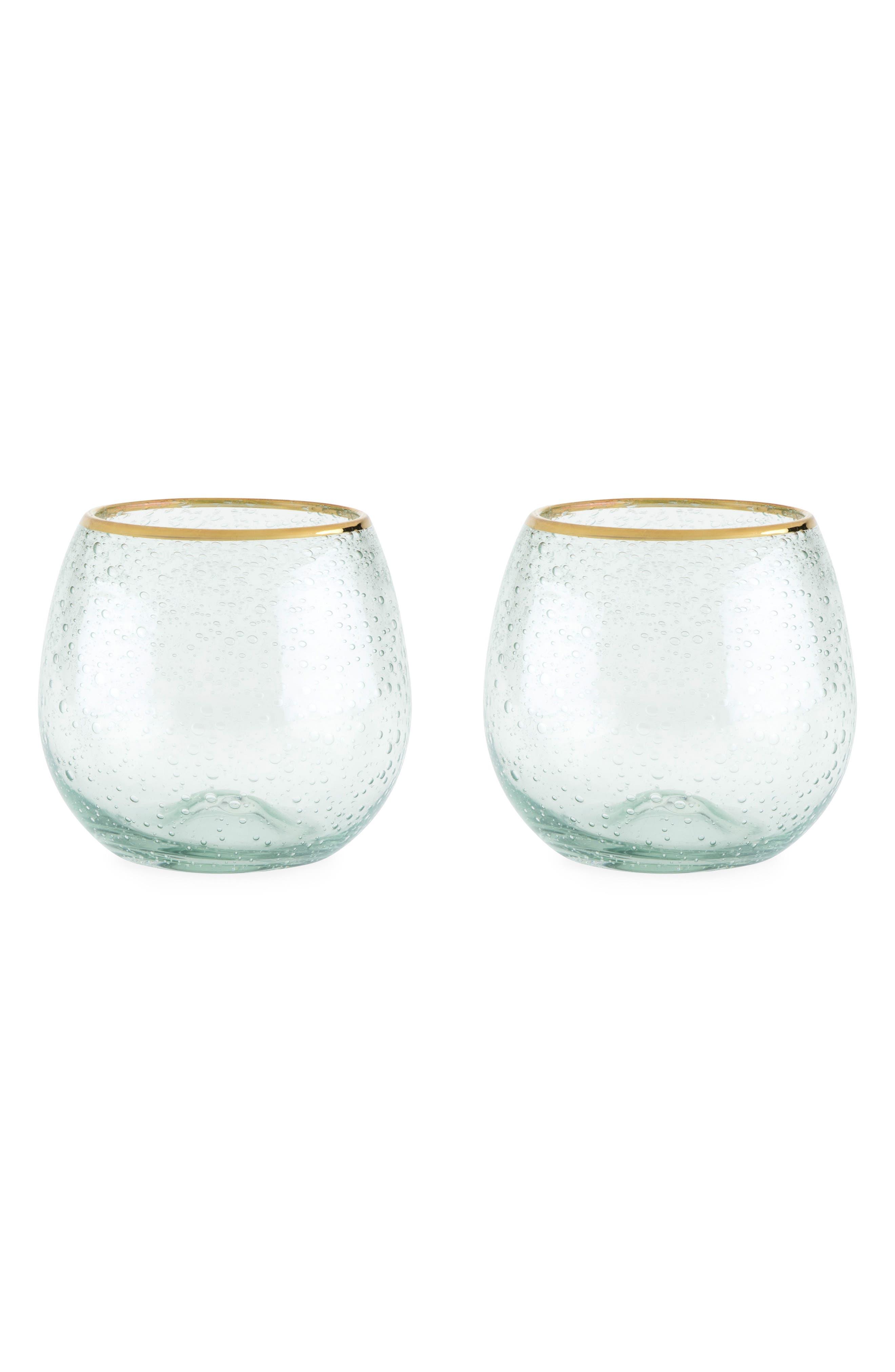 Set of 2 Gold Rim Stemless Wine Glasses,                         Main,                         color, 100