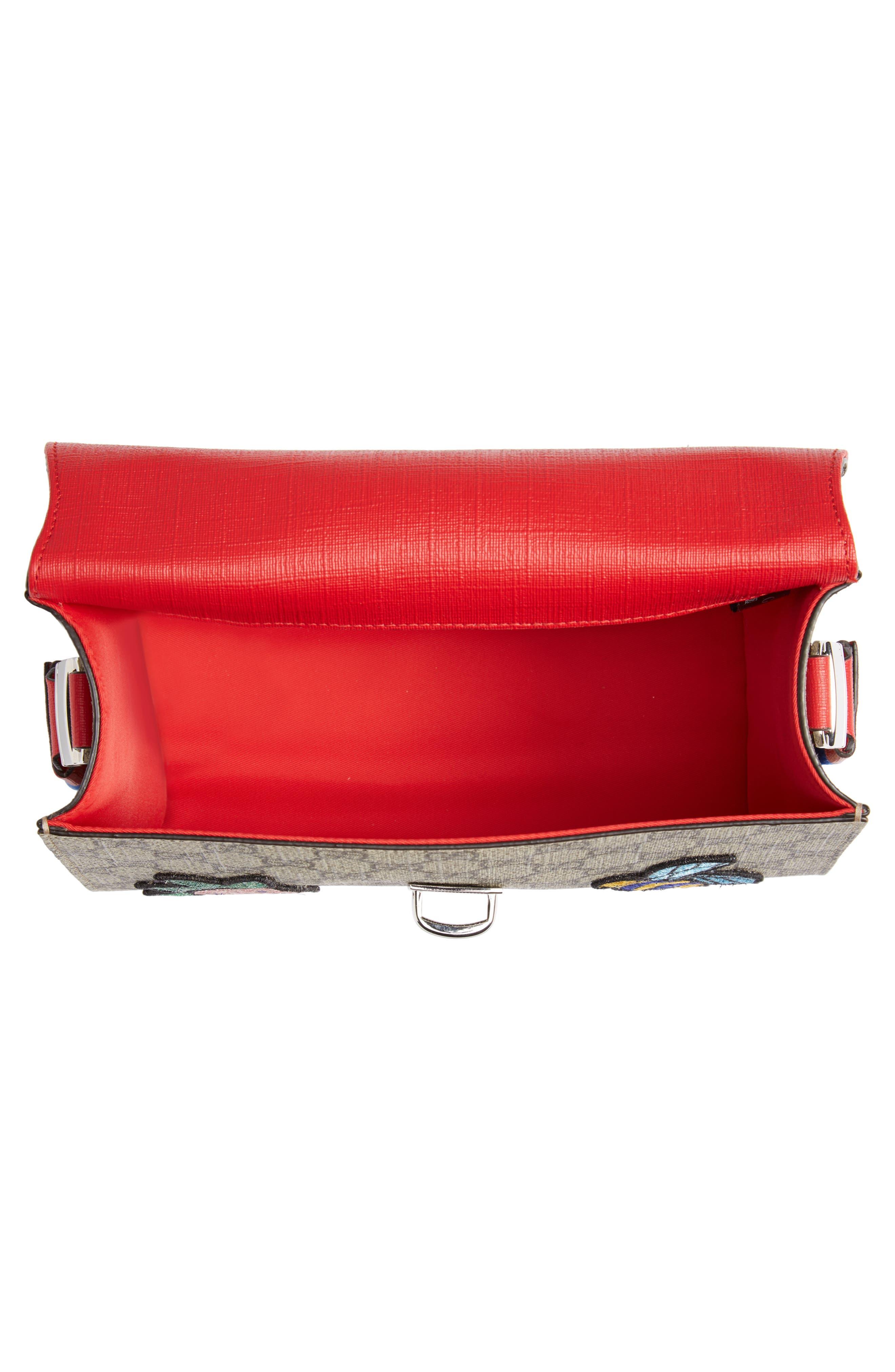 GUCCI,                             Junior GG Supreme Canvas Top Handle Bag,                             Alternate thumbnail 3, color,                             NERO/ VRV