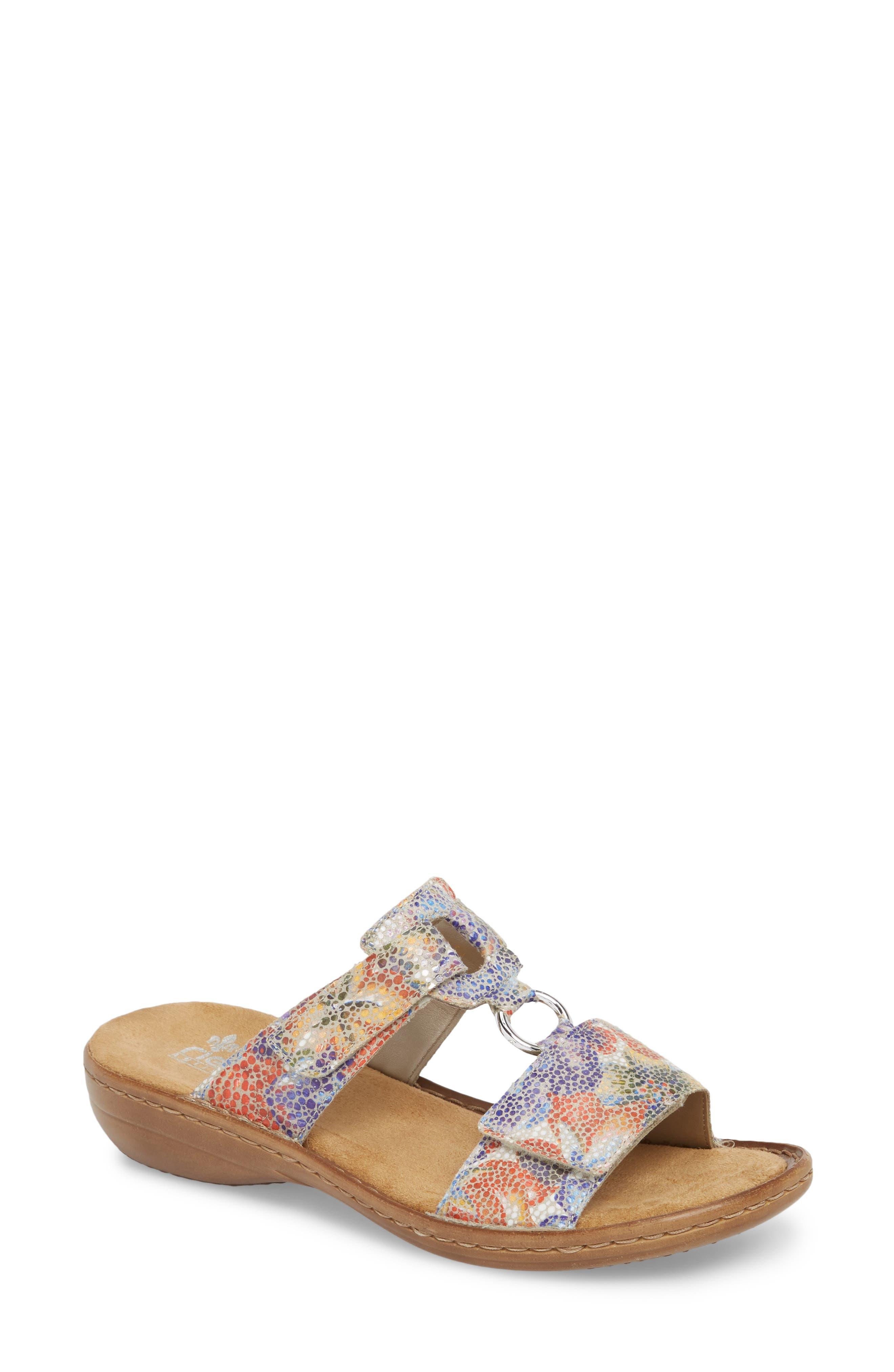 Regina P9 Slide Sandal,                             Main thumbnail 1, color,                             WHITE MULTI FABRIC