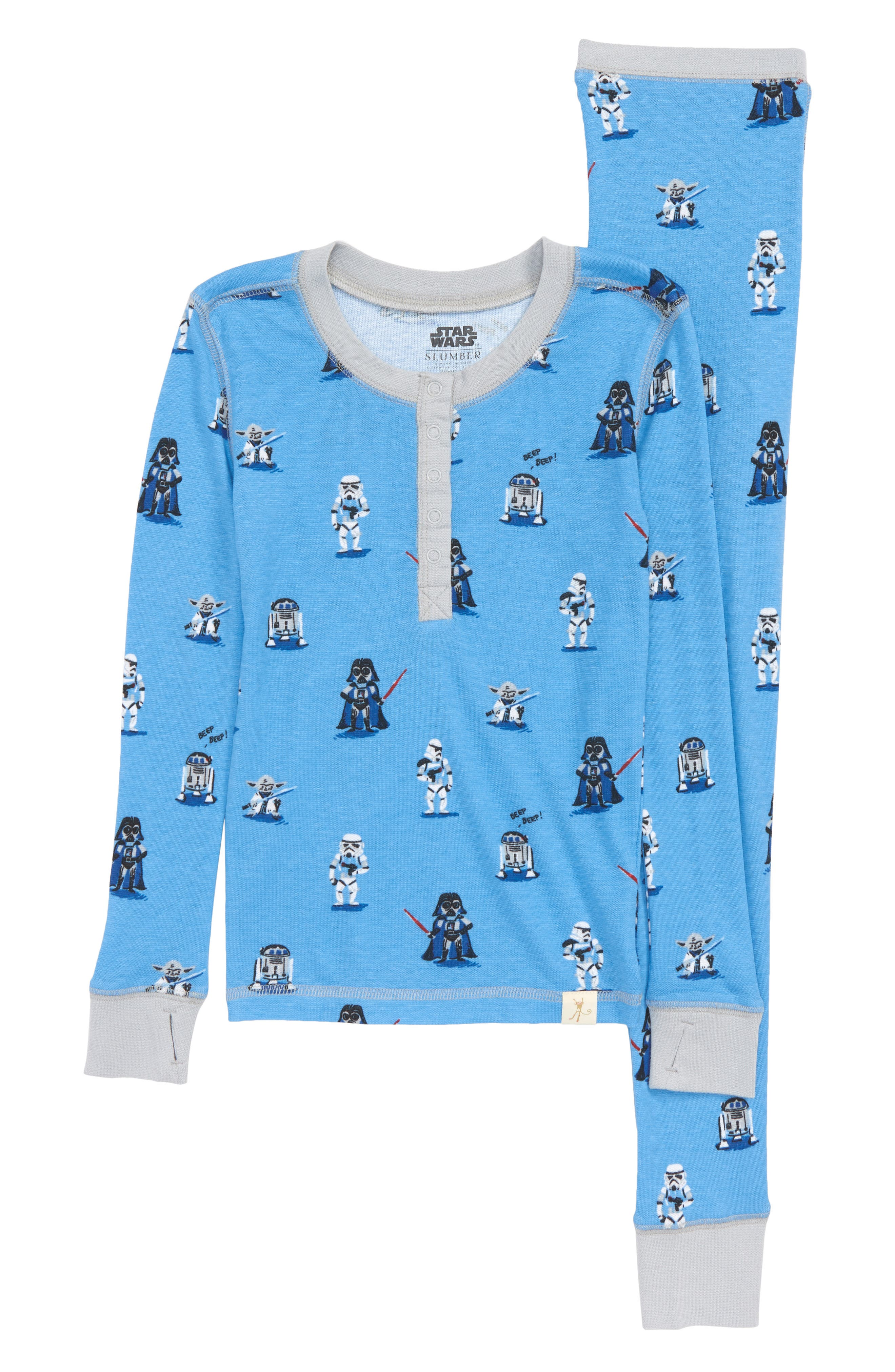 x Star Wars Fitted Two-Piece Pajamas,                             Main thumbnail 1, color,                             400