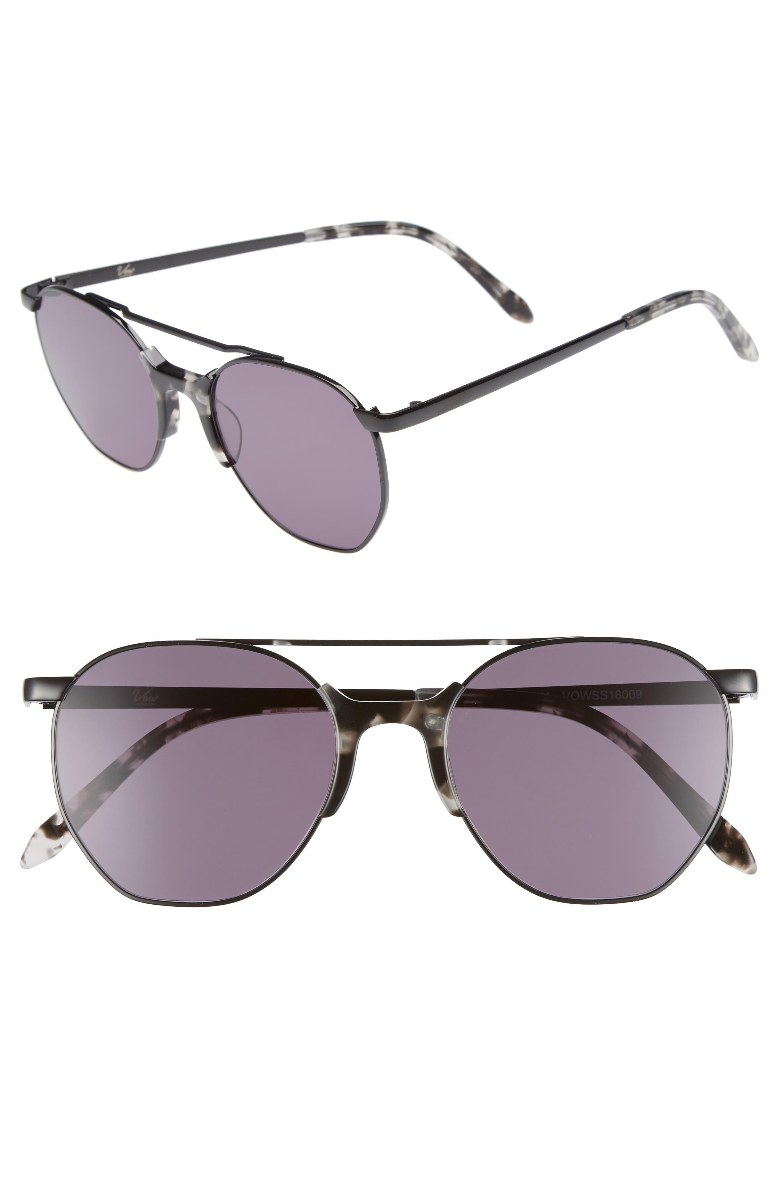 Raine 52mm Aviator Sunglasses,                         Main,                         color, SMOKE TORTOISE/ BLACK
