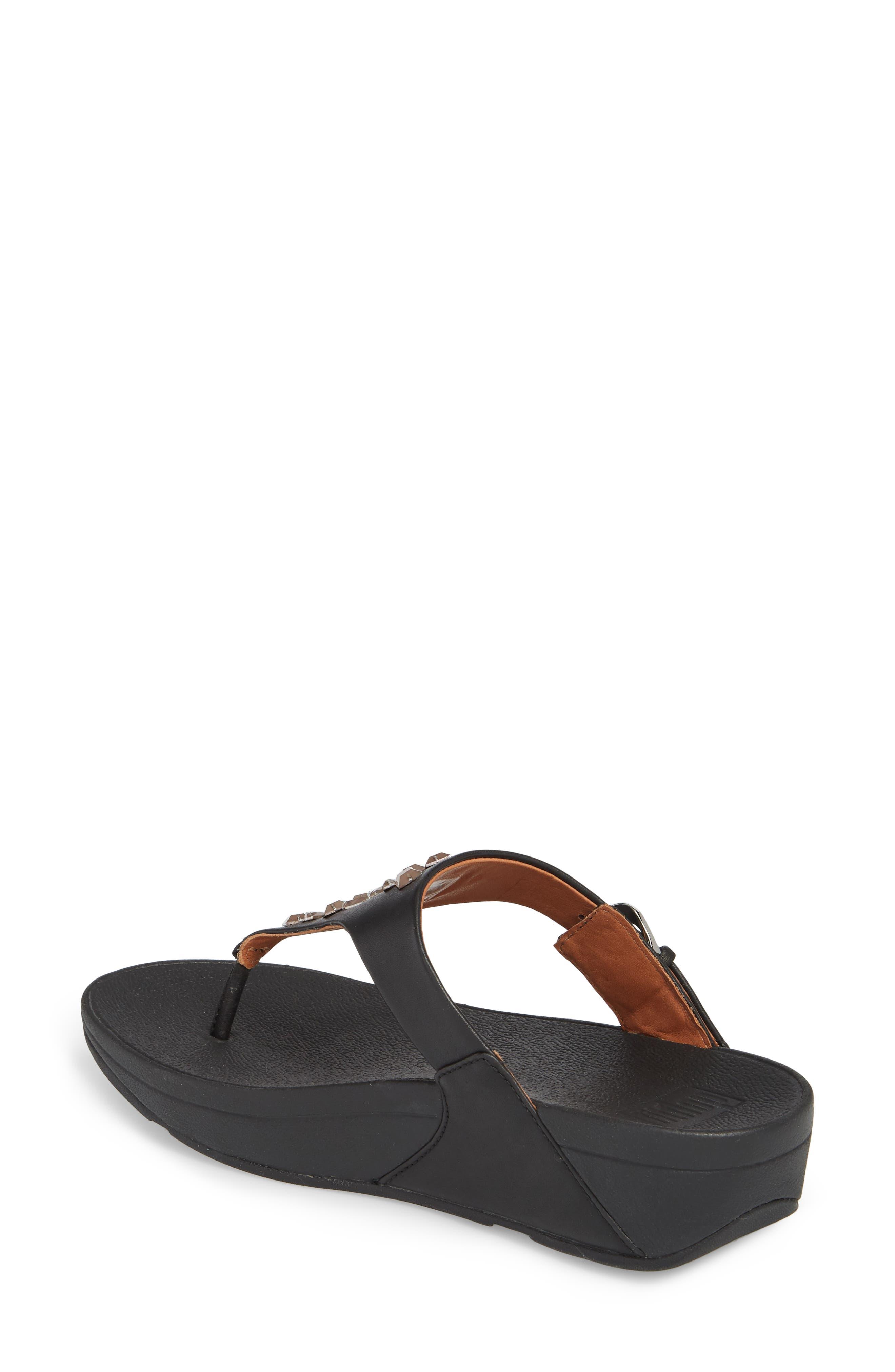 The Skinny Embellished V-Strap Thong Sandal,                             Alternate thumbnail 2, color,                             001