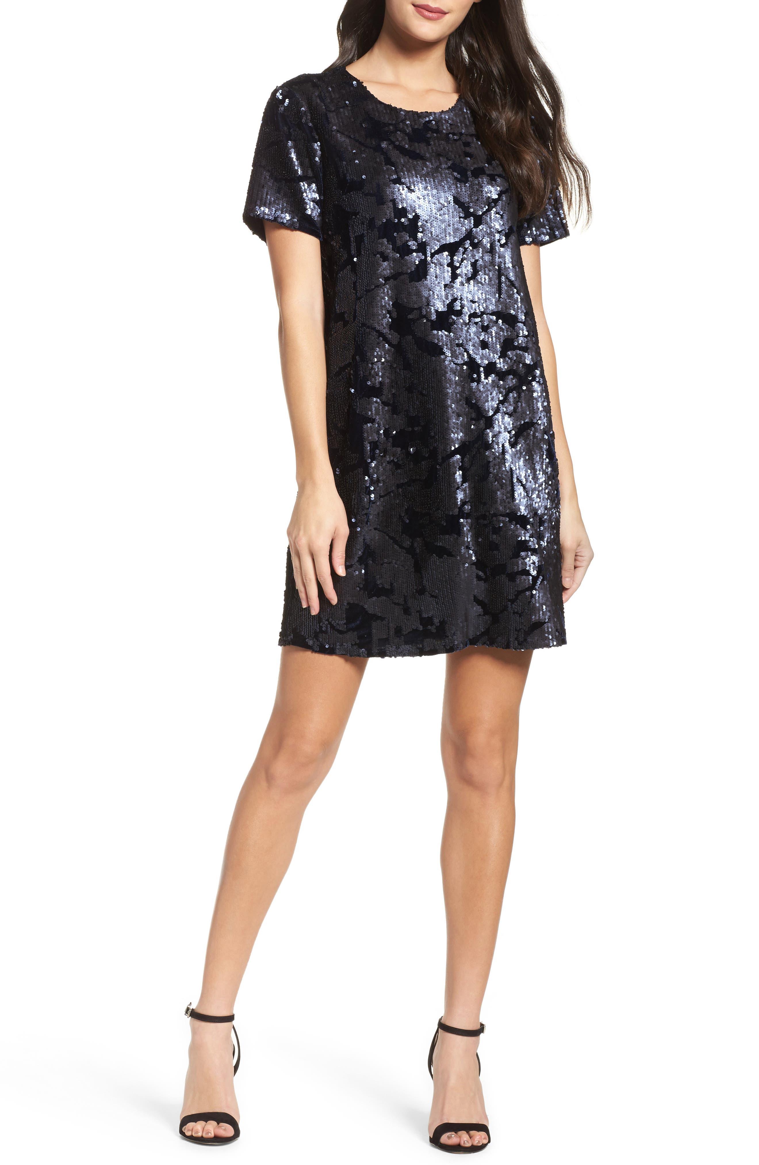 Sequin Velvet Shift Dress,                         Main,                         color, 410
