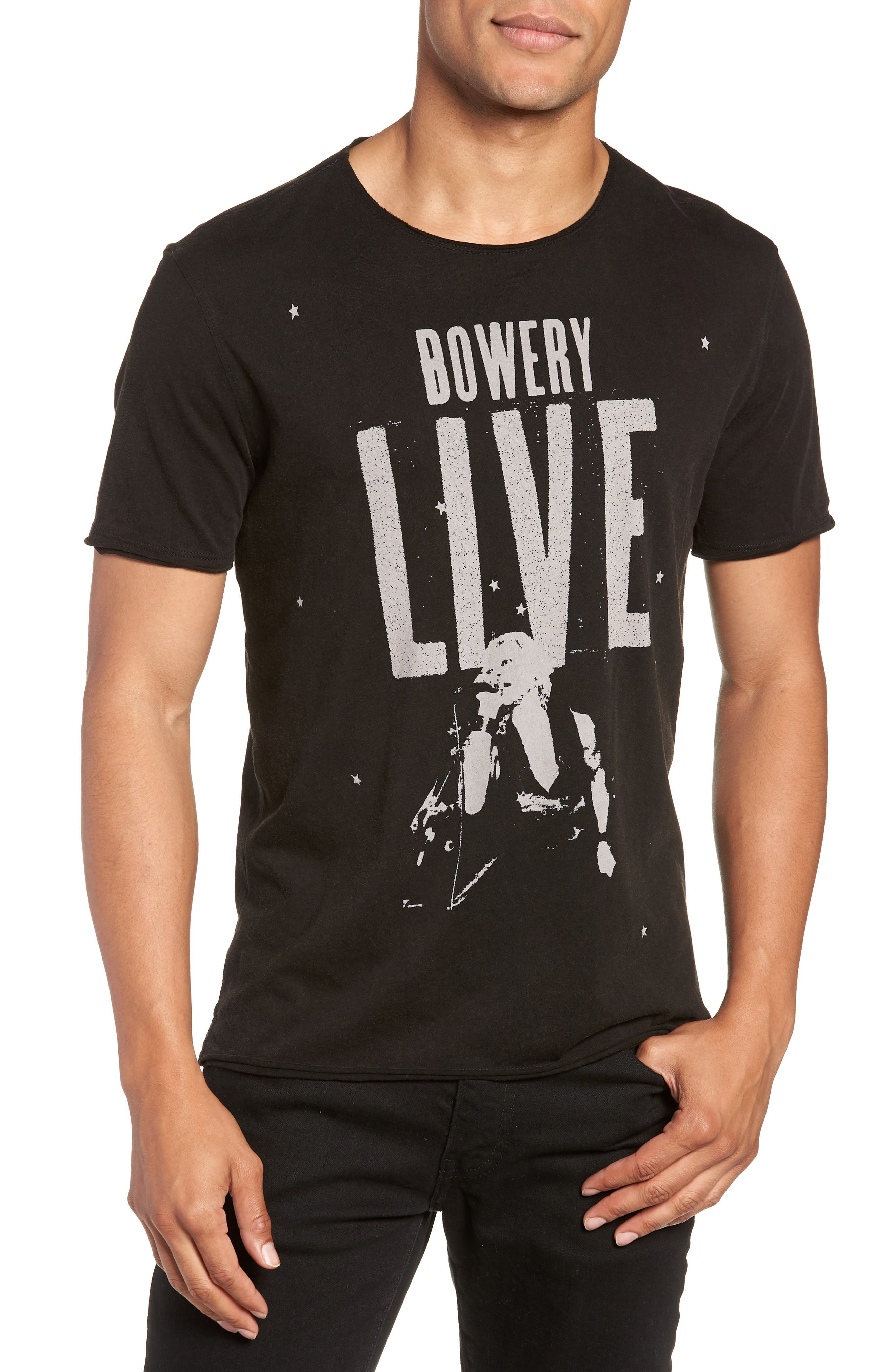 Bowery Live Graphic T-Shirt,                         Main,                         color, BLACK