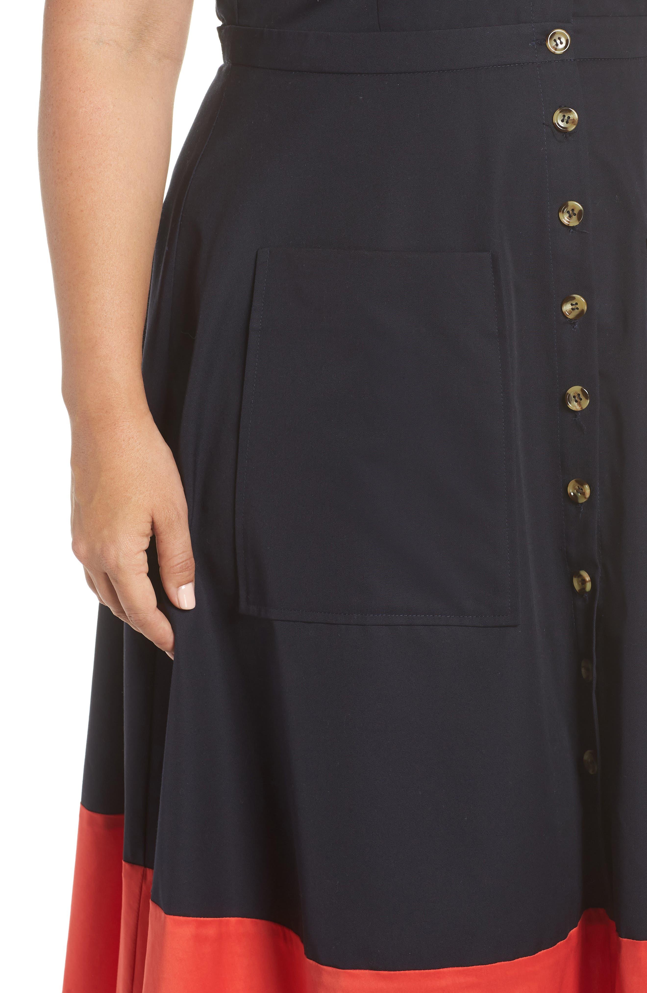 Colorblock Cotton Midi Dress,                             Alternate thumbnail 4, color,                             NAVY RED COLOR BLOCK