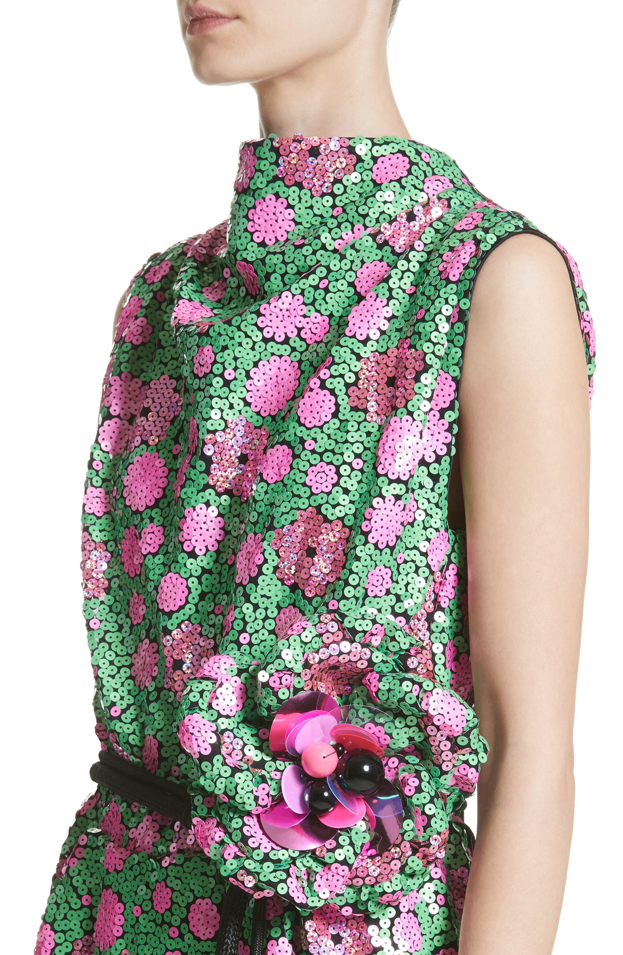 Floral Sequin Midi dress,                             Alternate thumbnail 4, color,                             300