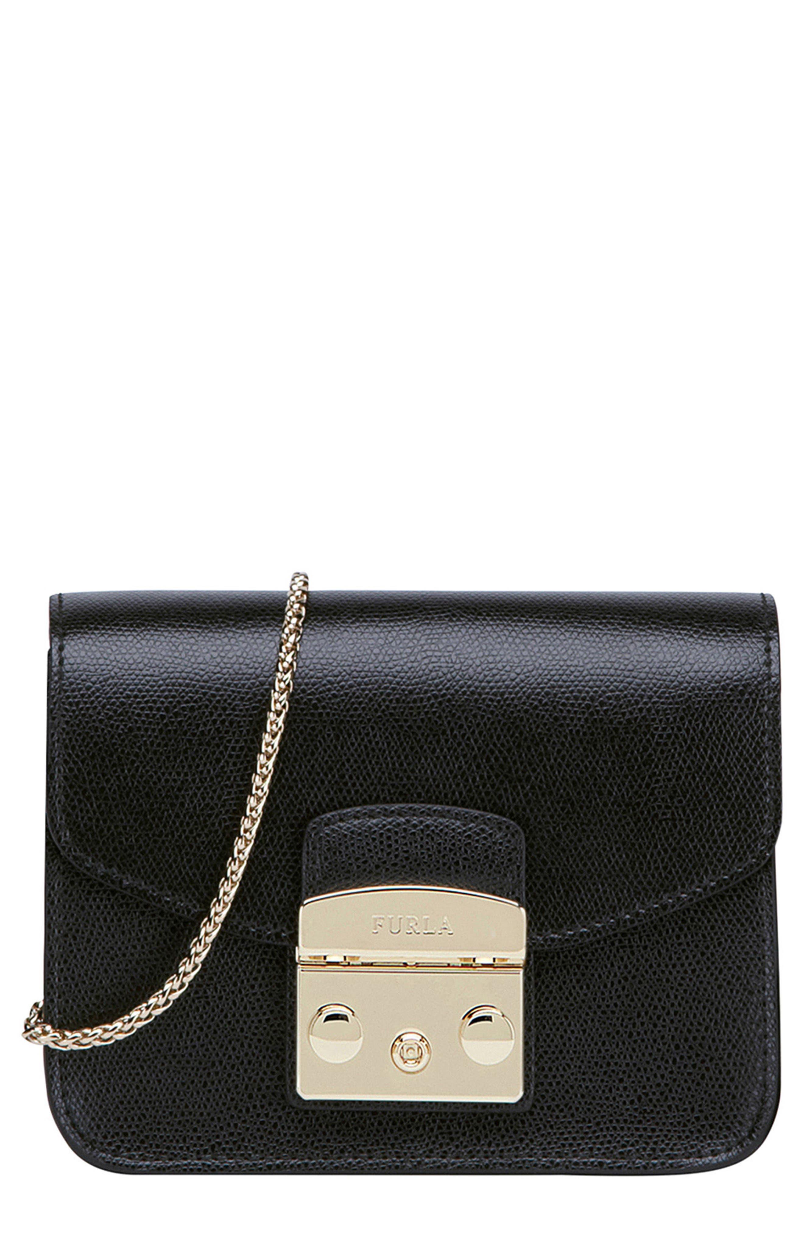 Mini Metropolis Leather Crossbody Bag,                             Main thumbnail 1, color,                             004