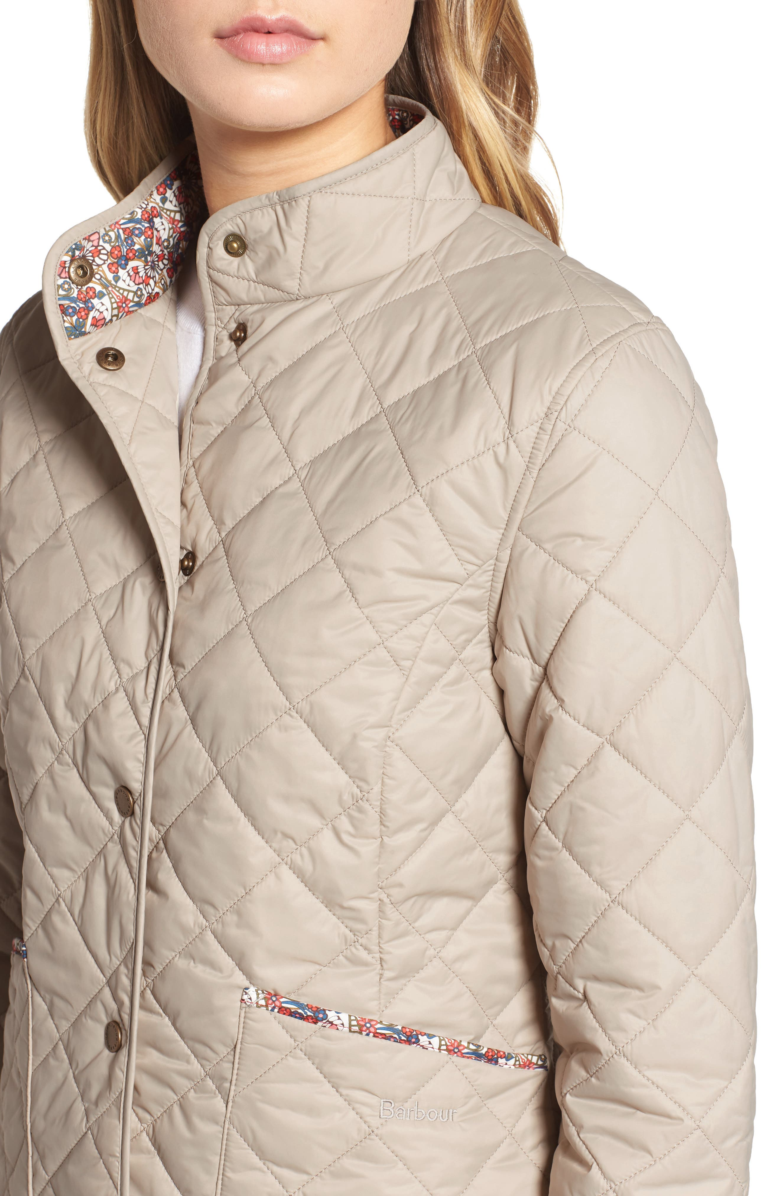 BARBOUR,                             x Liberty Evelyn Quilted Jacket,                             Alternate thumbnail 5, color,                             MIST/ MORRIS BUTTERFLY