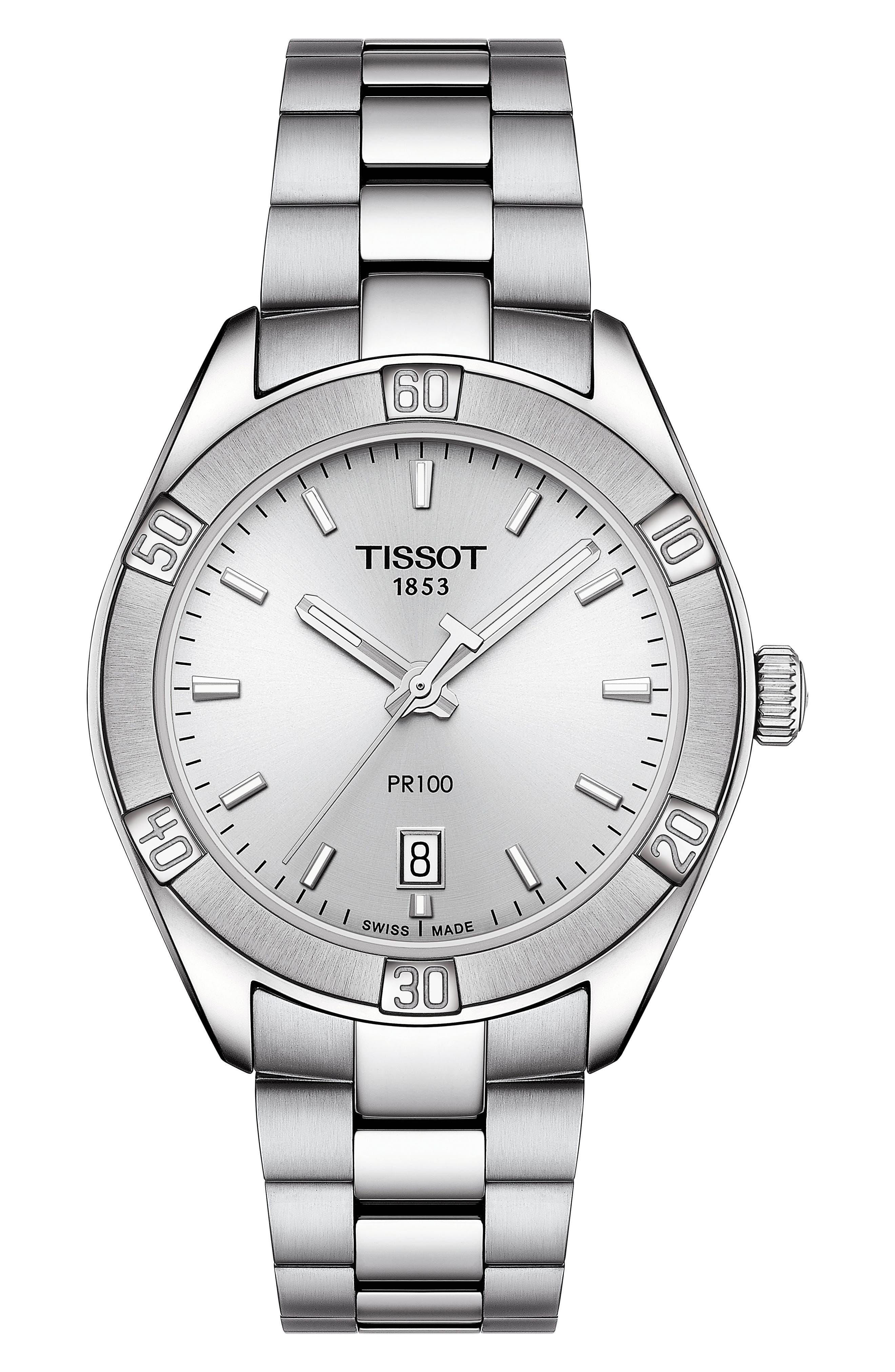 TISSOT,                             PR 100 Sport Chic Bracelet Watch, 36mm,                             Main thumbnail 1, color,                             SILVER