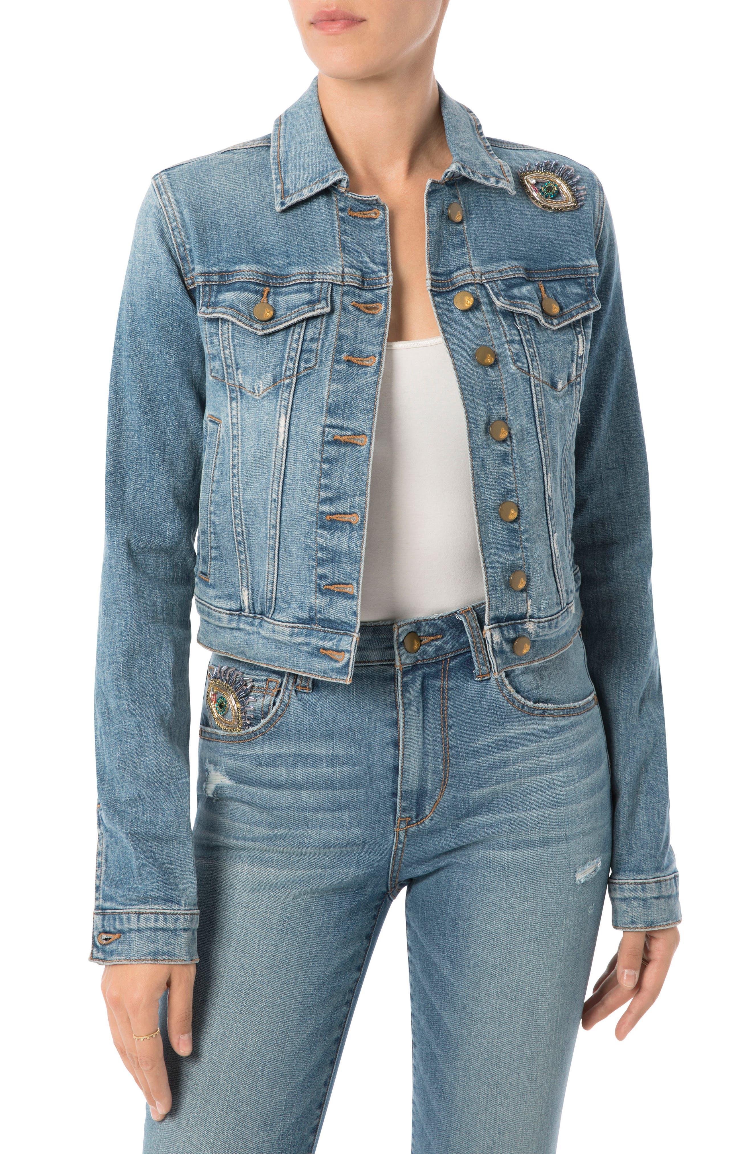 Bridget Embellished Denim Jacket,                         Main,                         color, 415