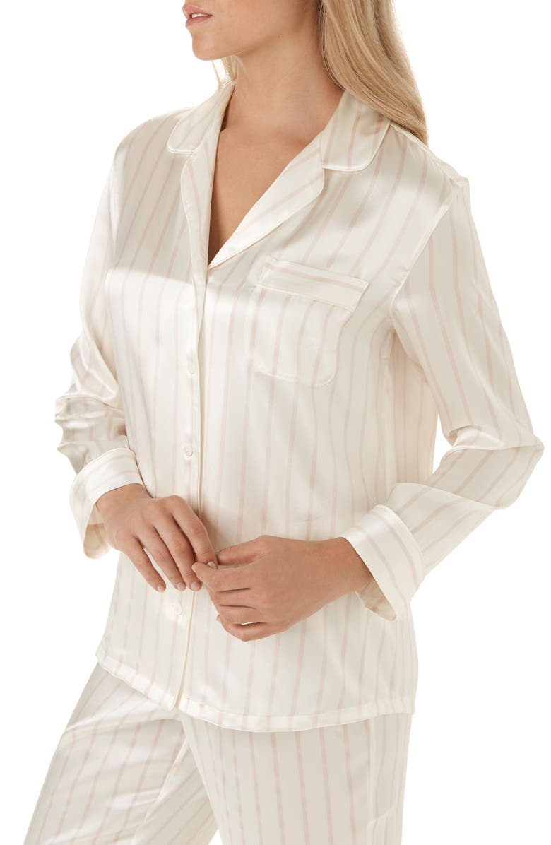 The White Company Stripe Piped Silk Pajamas | Nordstrom