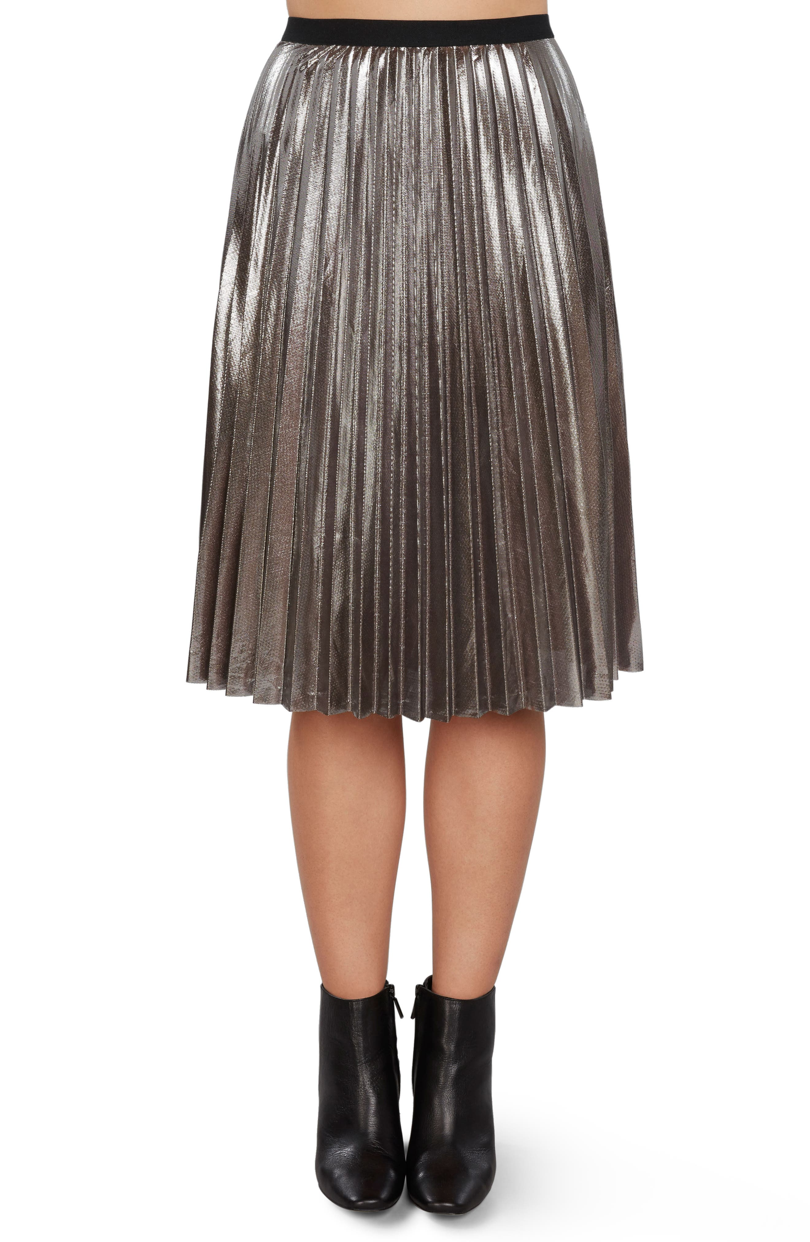 Pleated Metallic Skirt,                             Main thumbnail 1, color,
