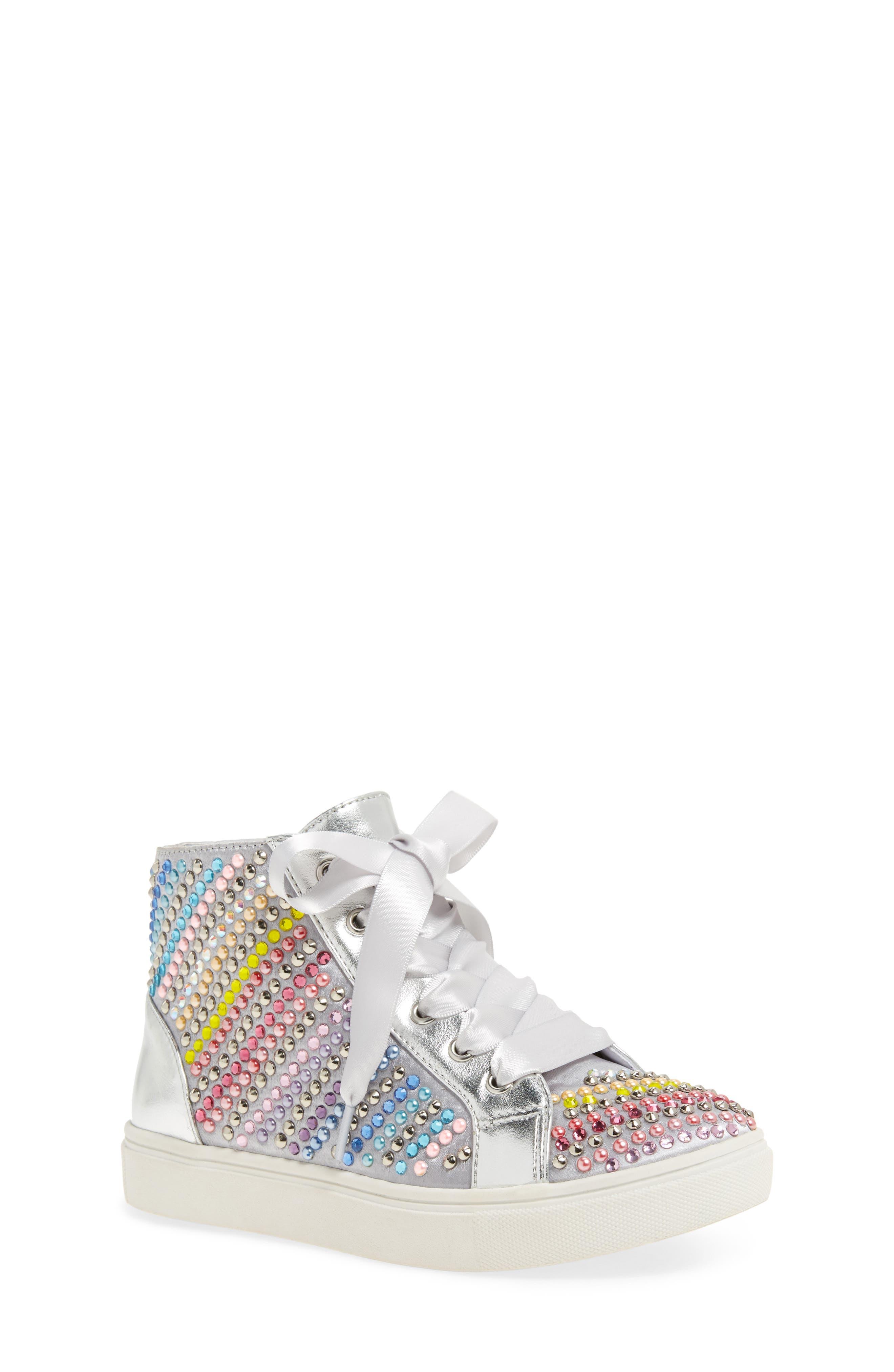 Rainey Rainbow Studded High Top Sneaker,                         Main,                         color, 040