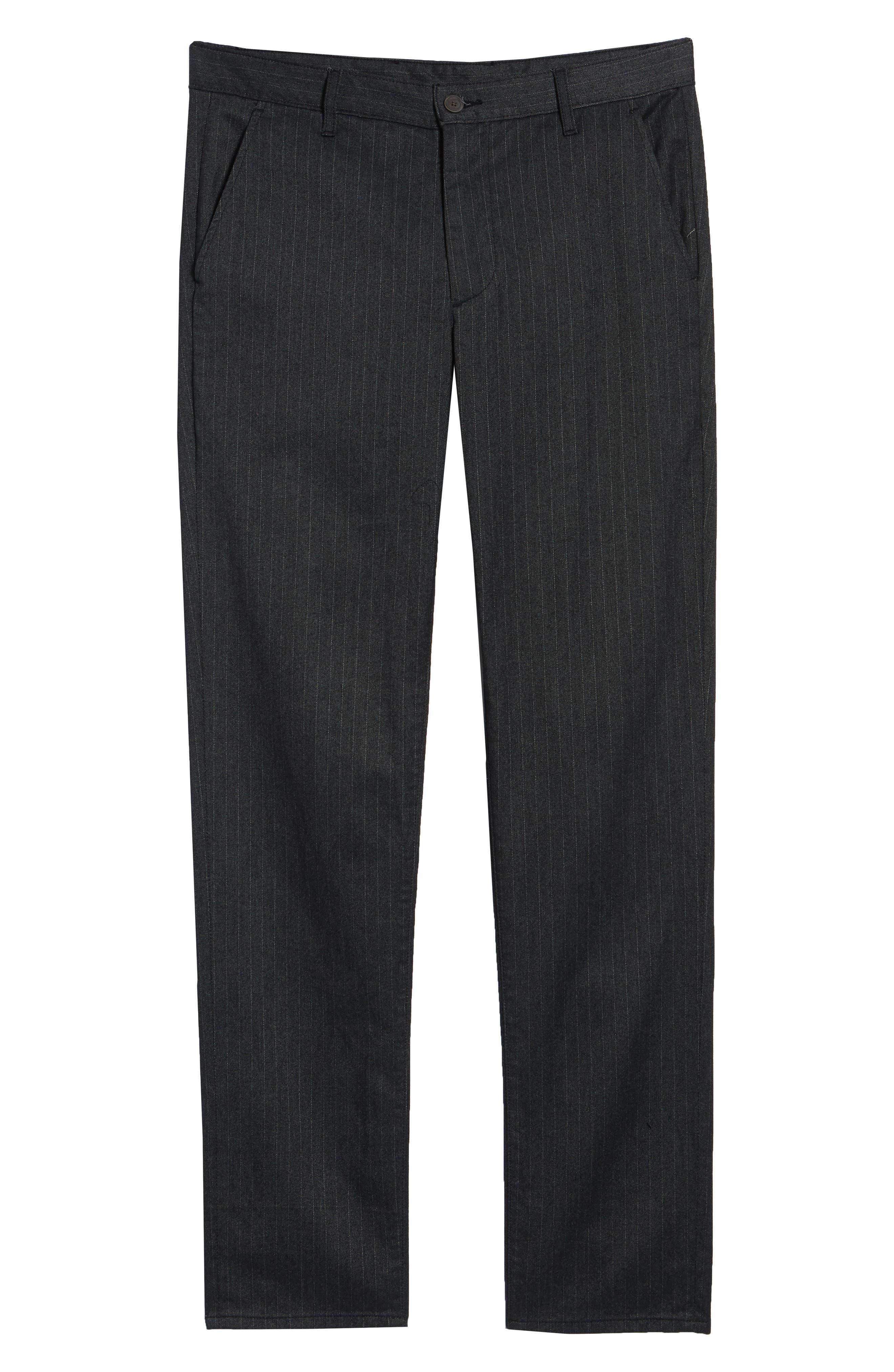Marshall Slim Fit Pinstripe Pants,                             Alternate thumbnail 6, color,                             HEATHERED MELANGE BLACK