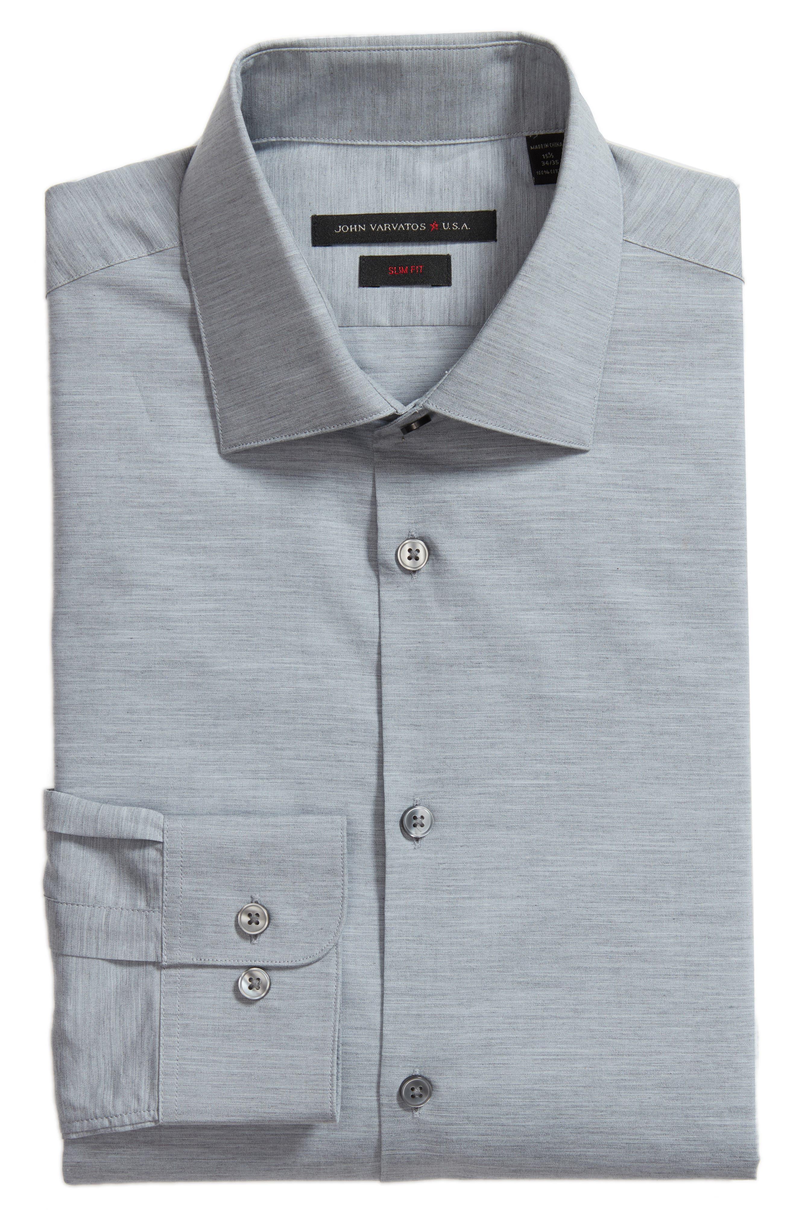 Slim Fit Stretch Solid Dress Shirt,                             Alternate thumbnail 5, color,                             432