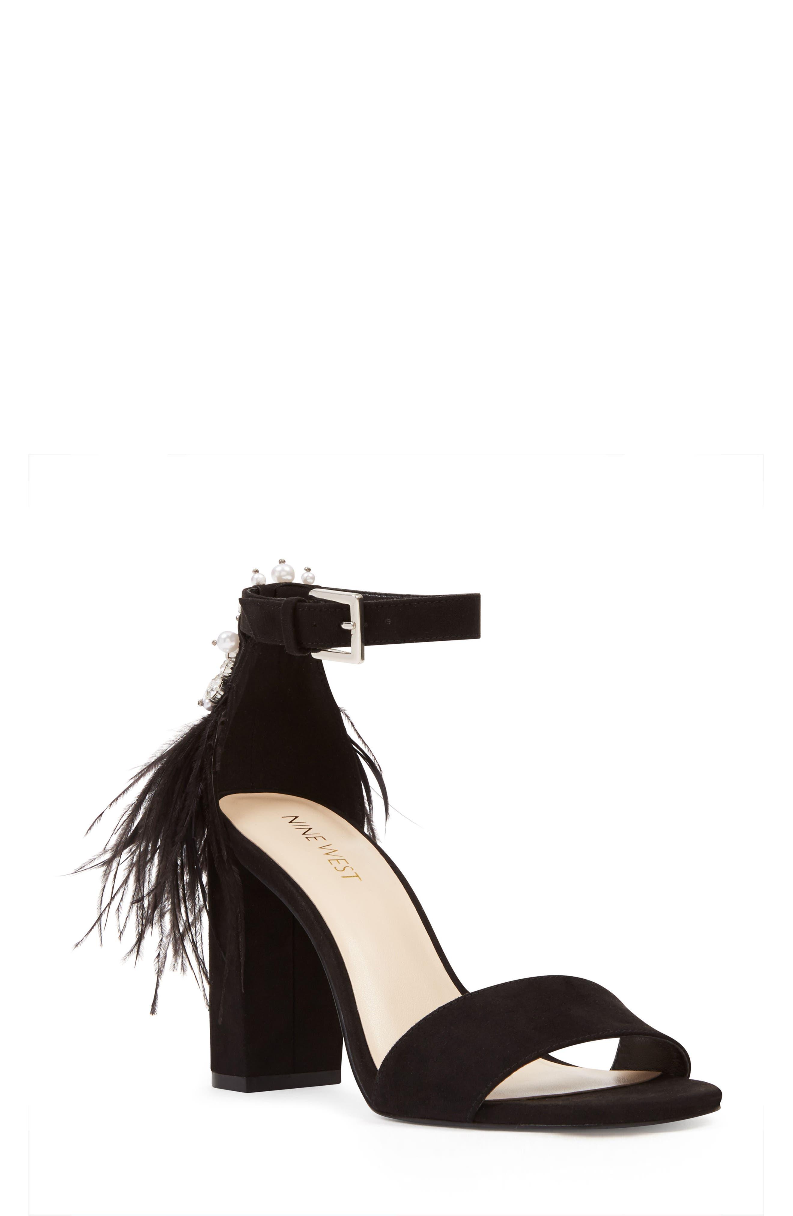 Aaronita Feather Block Heel Sandal,                         Main,                         color, 001