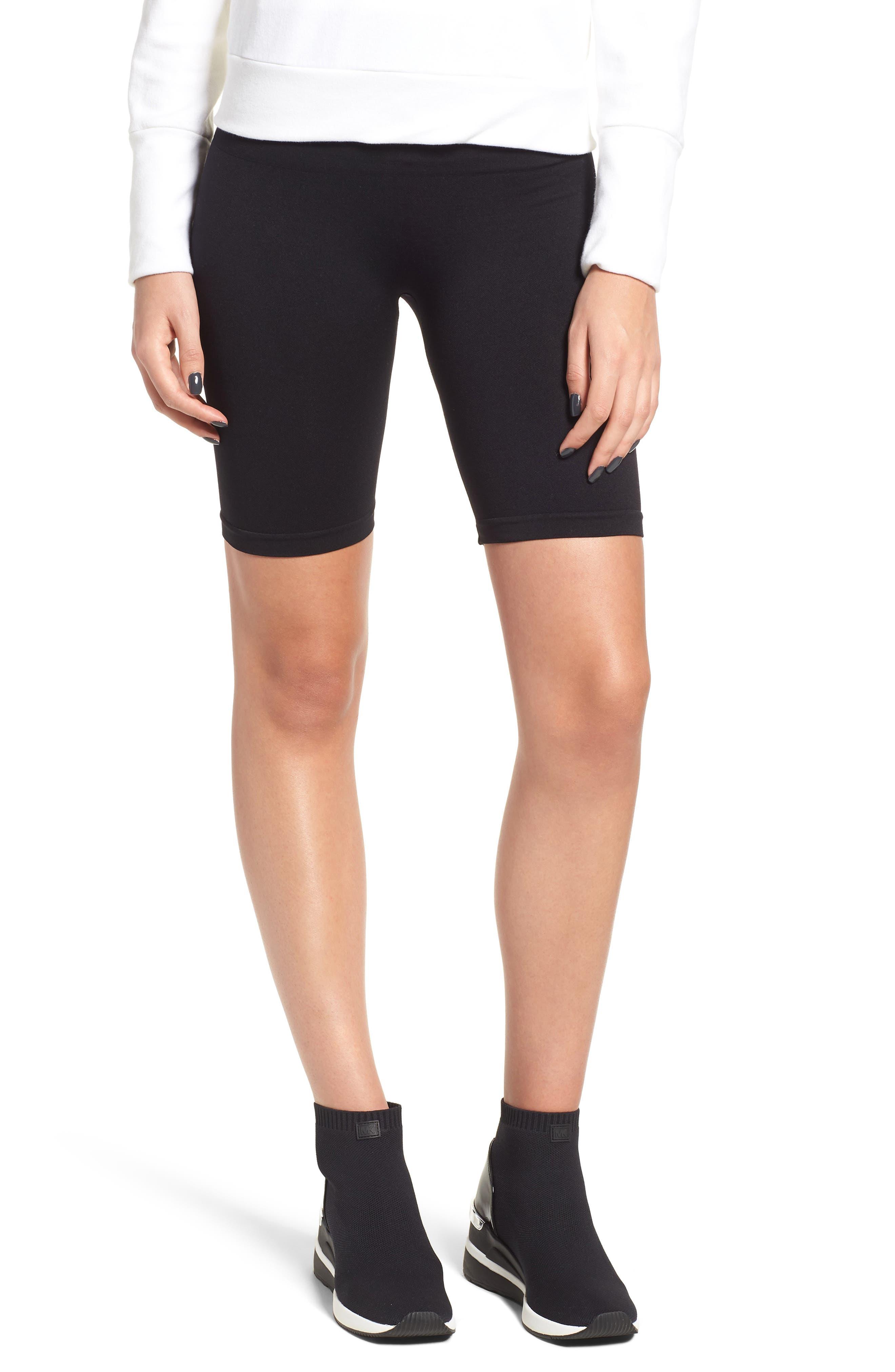 Seamless Bike Shorts,                             Main thumbnail 1, color,                             BLACK