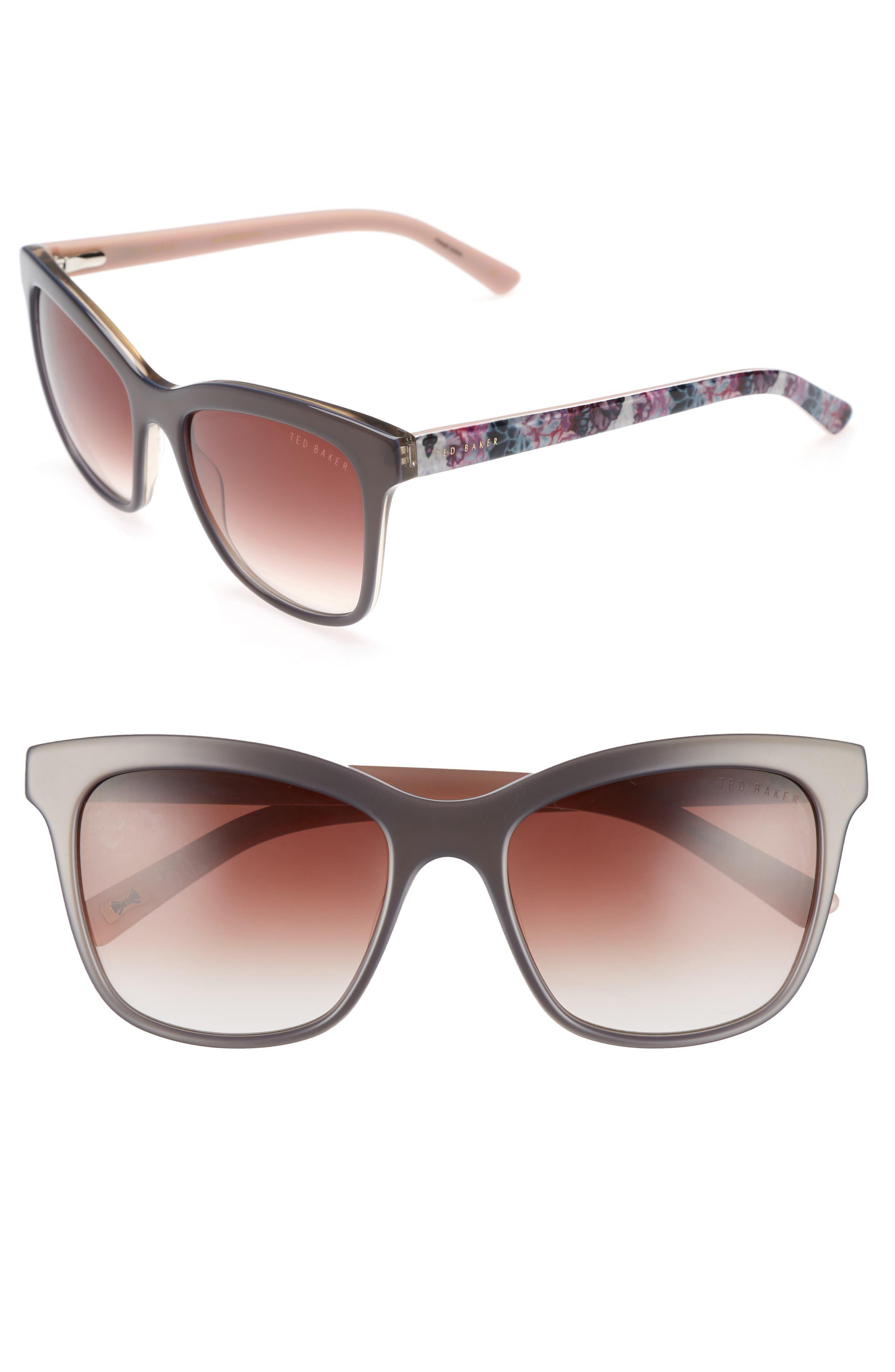 55mm Cat Eye Sunglasses,                             Main thumbnail 1, color,                             GREY