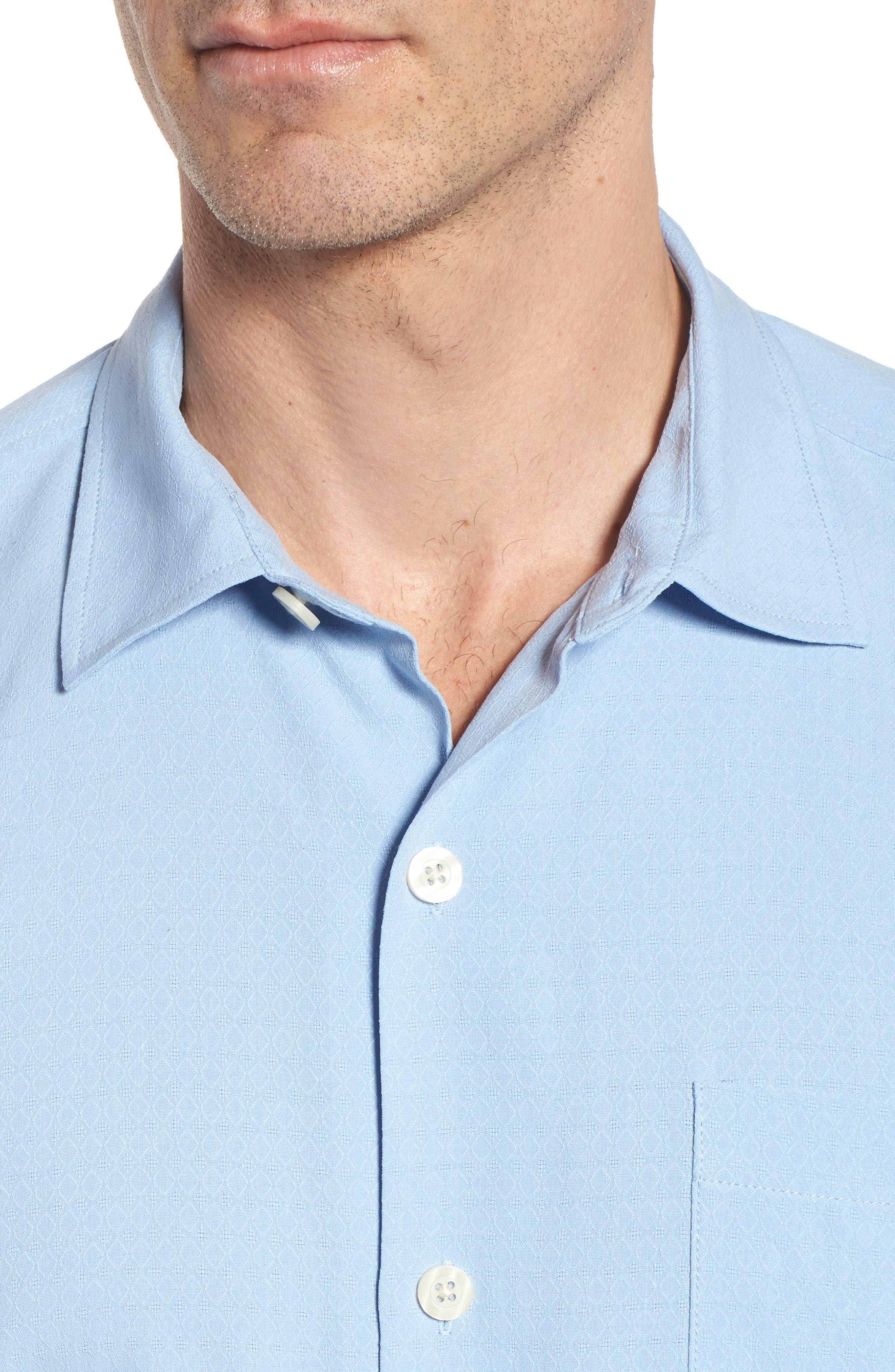 Oasis Jacquard Silk Sport Shirt,                             Alternate thumbnail 4, color,                             400