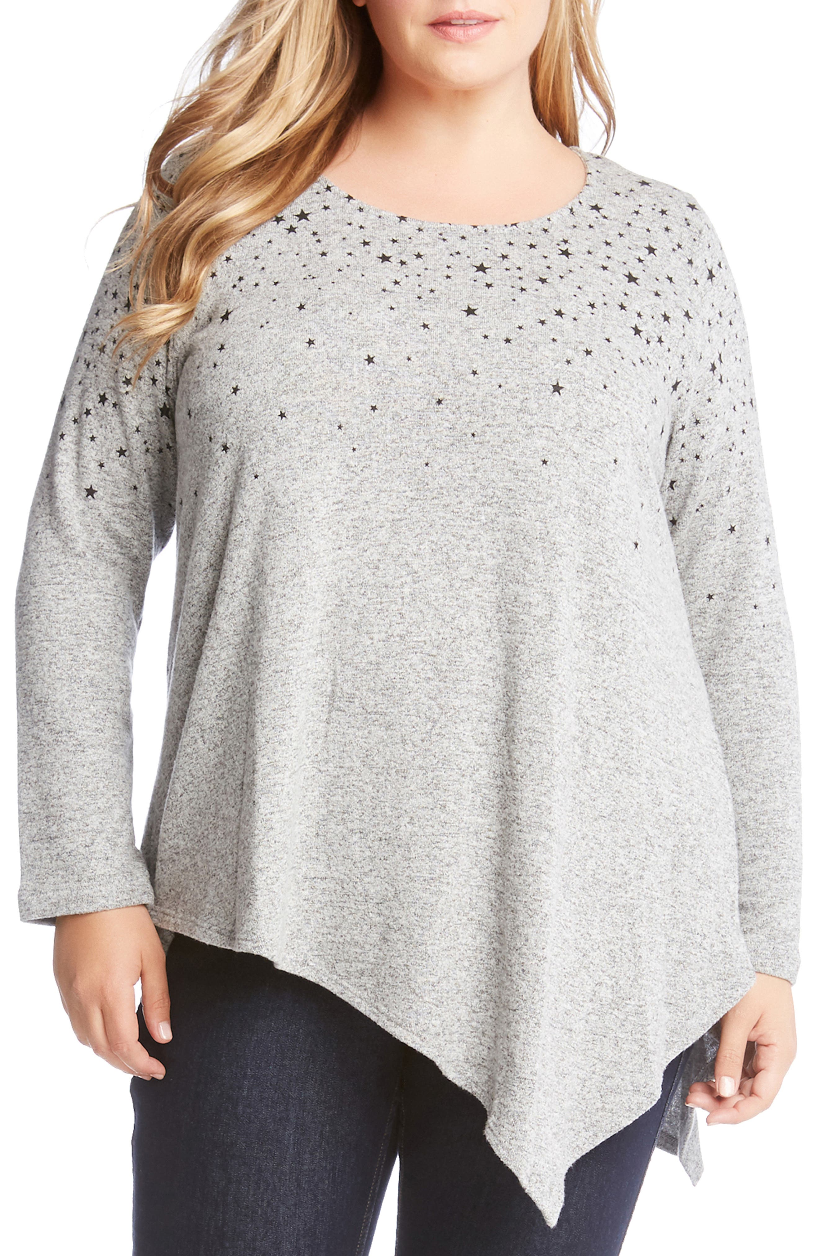 KAREN KANE Asymmetrical Star Print Sweater, Main, color, 020