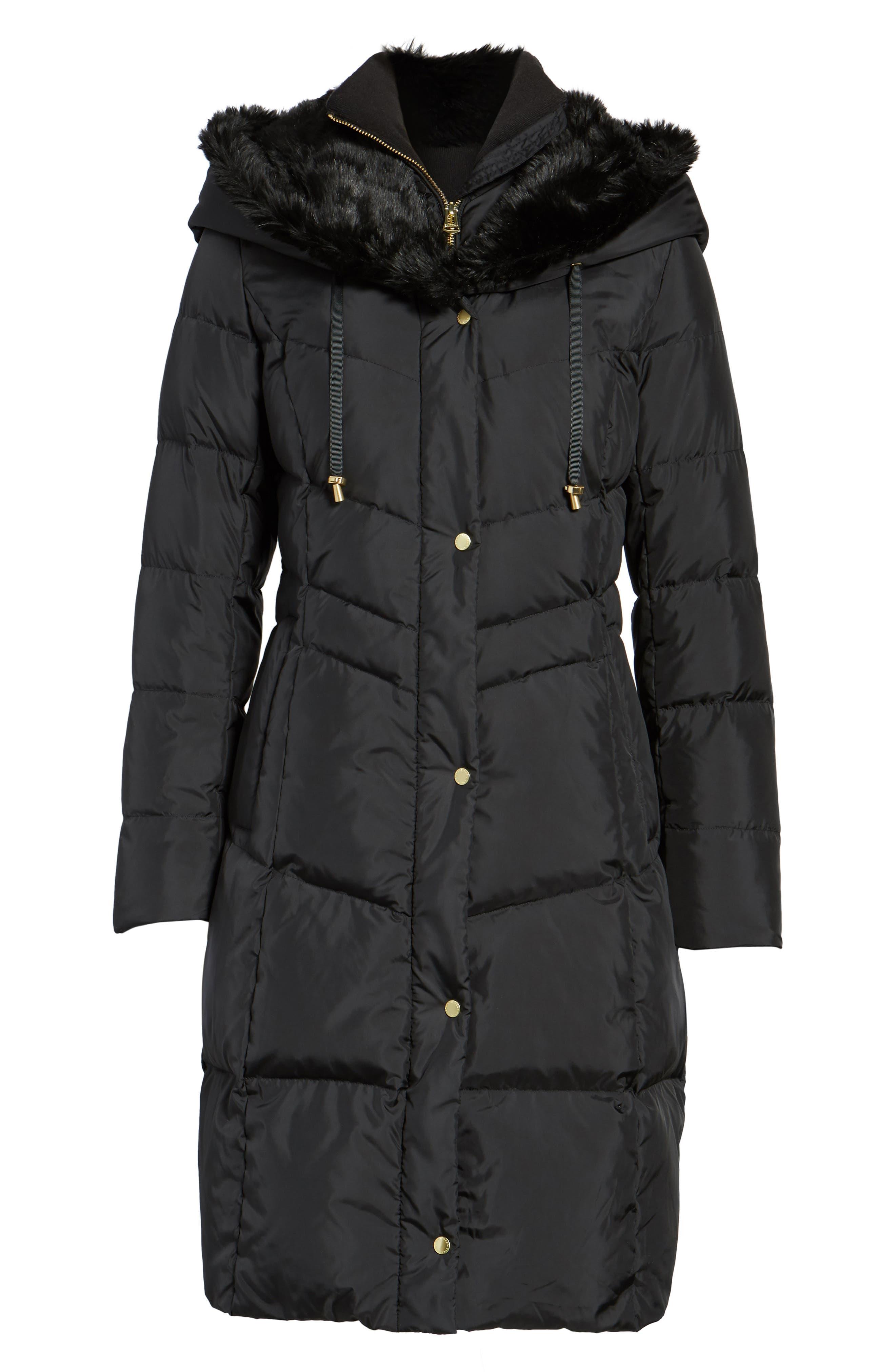3/4 Down Coat with Faux Fur Hood,                             Alternate thumbnail 5, color,                             001