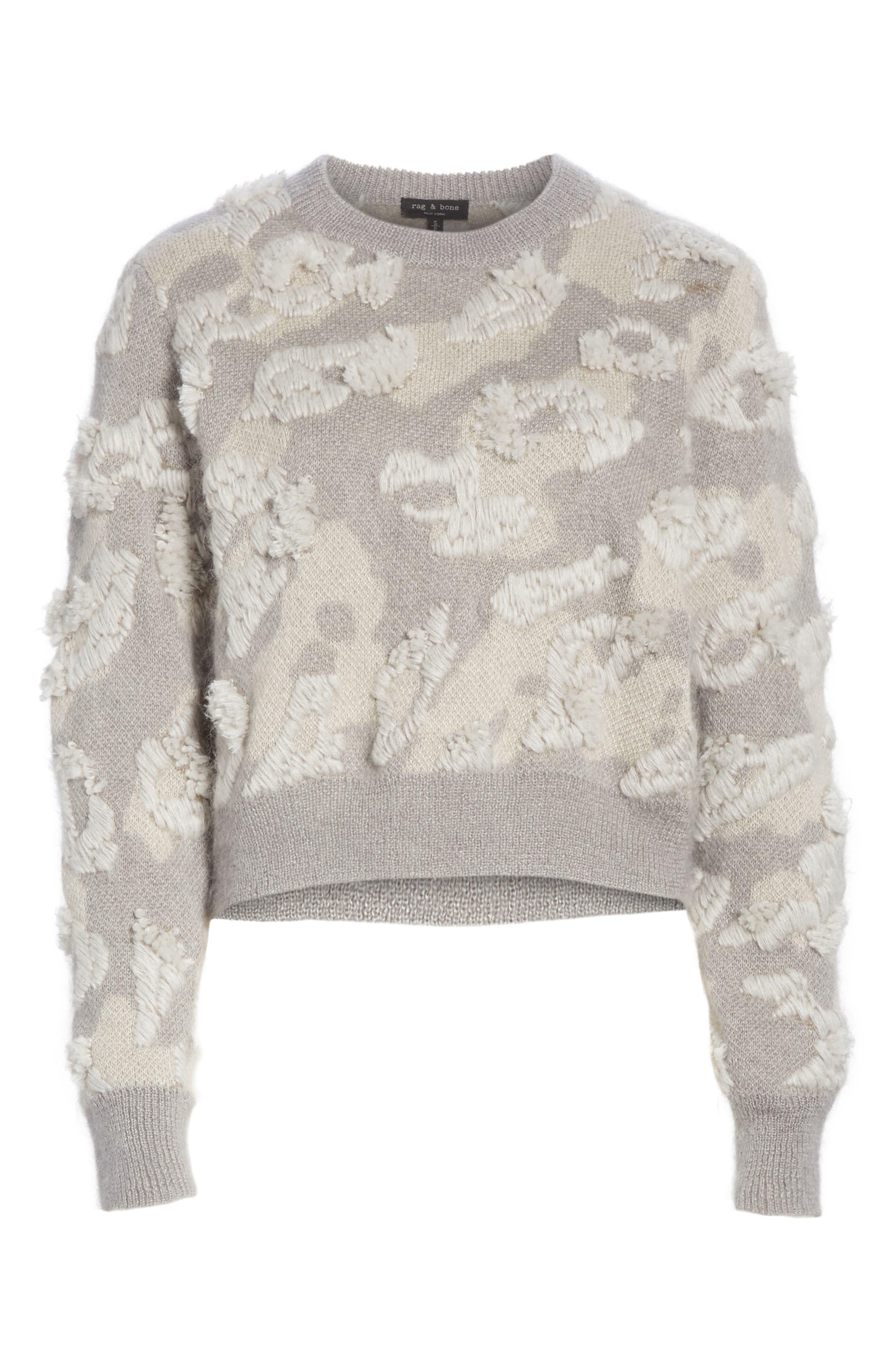 RAG & BONE,                             Embroidered Leopard Spot Sweater,                             Alternate thumbnail 6, color,                             900